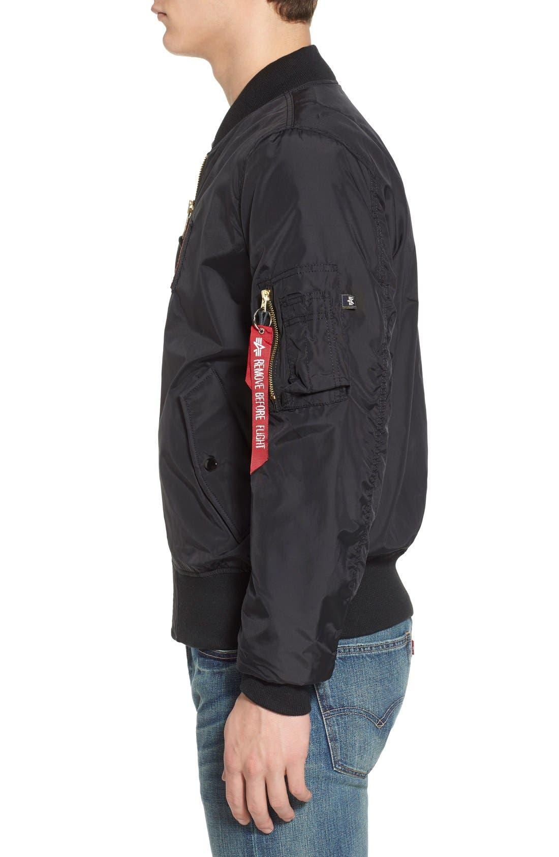 Reversible Slim Flex MA-1 Bomber Jacket,                             Alternate thumbnail 3, color,                             001
