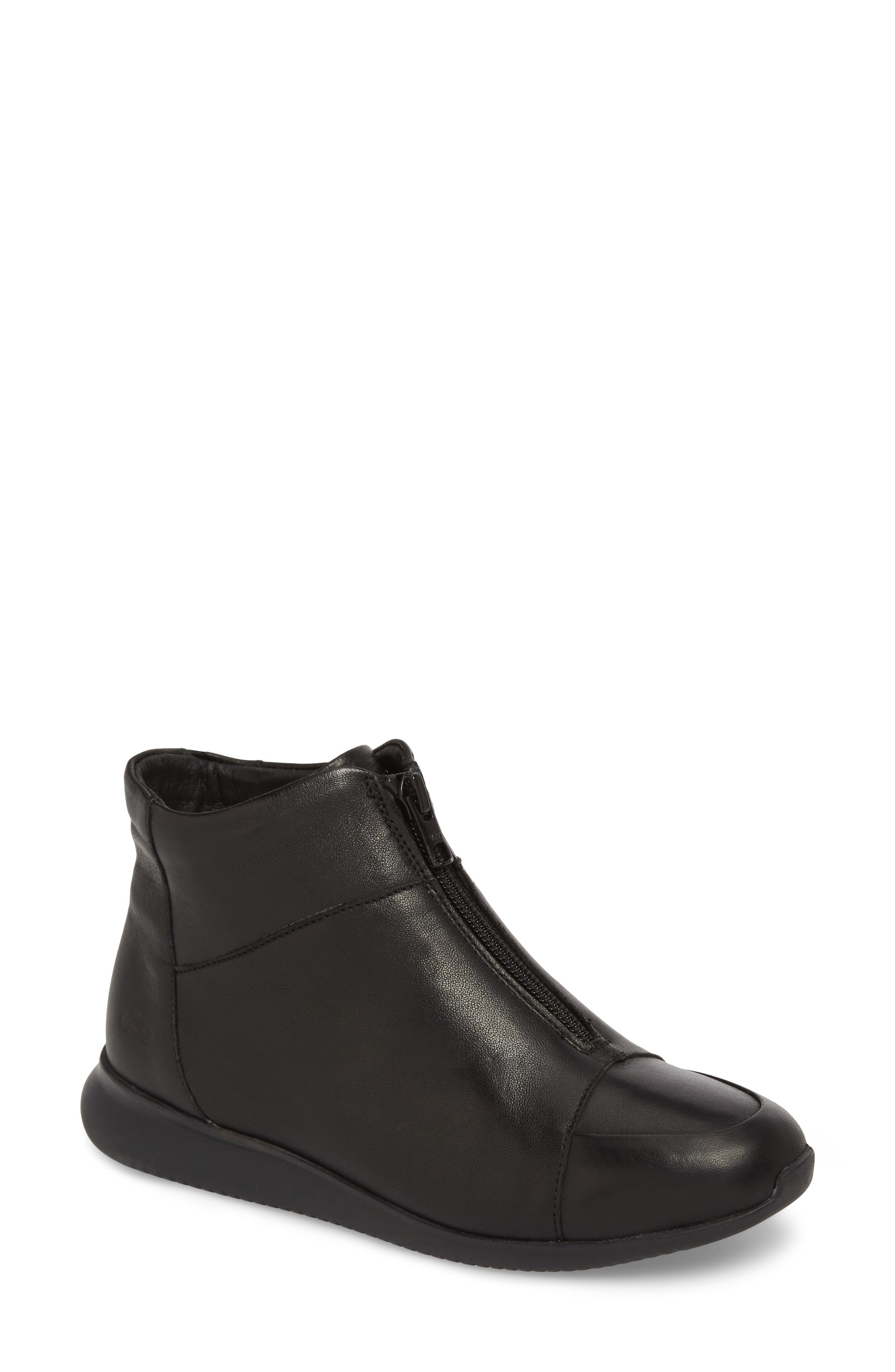 Roy Wool Lined Cap Toe Bootie,                             Main thumbnail 1, color,                             BLACK LEATHER