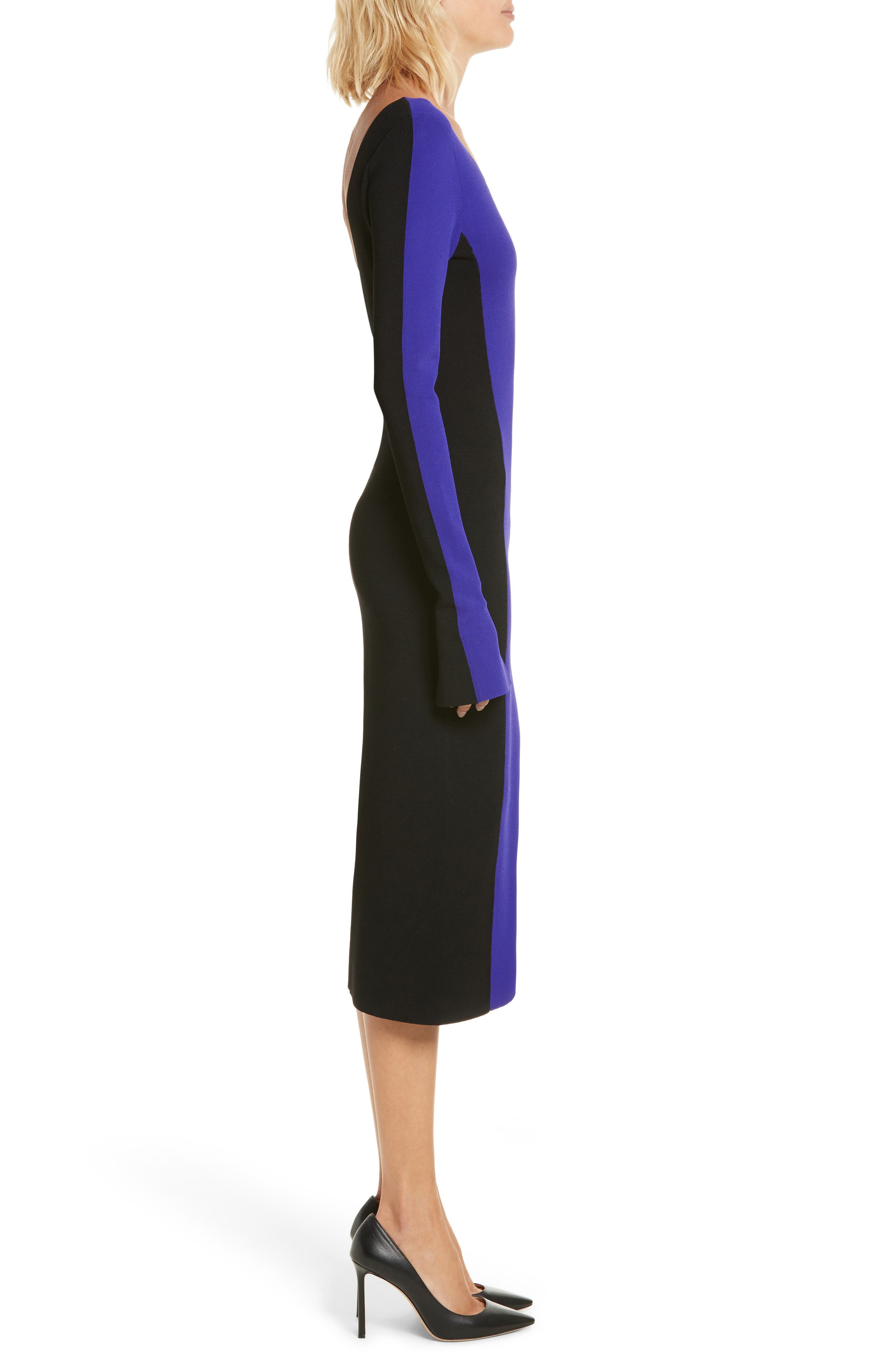 Colorblock Knit Body-Con Dress,                             Alternate thumbnail 3, color,