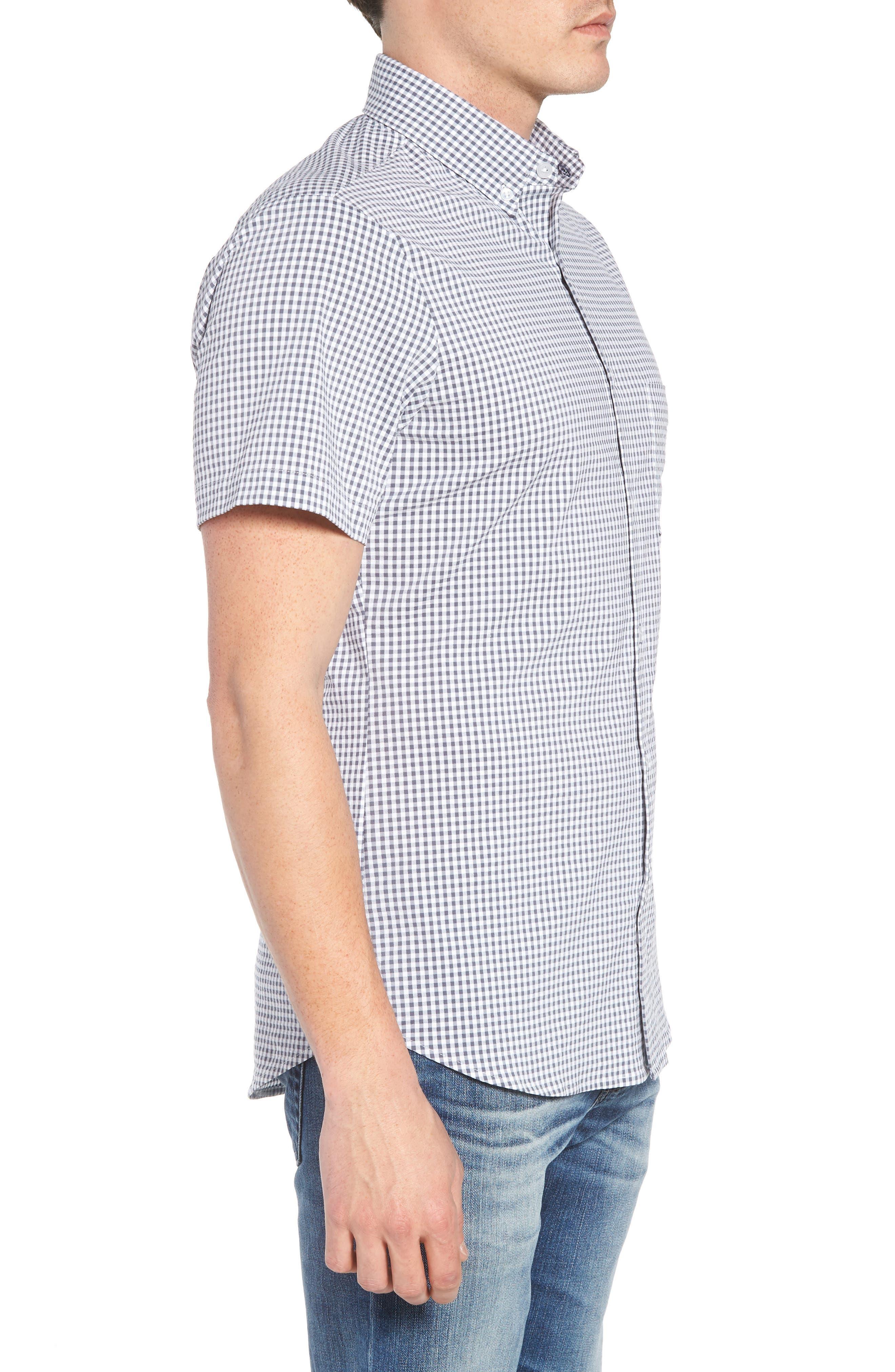 Harrison Seersucker Check Performance Sport Shirt,                             Alternate thumbnail 3, color,                             NAVY