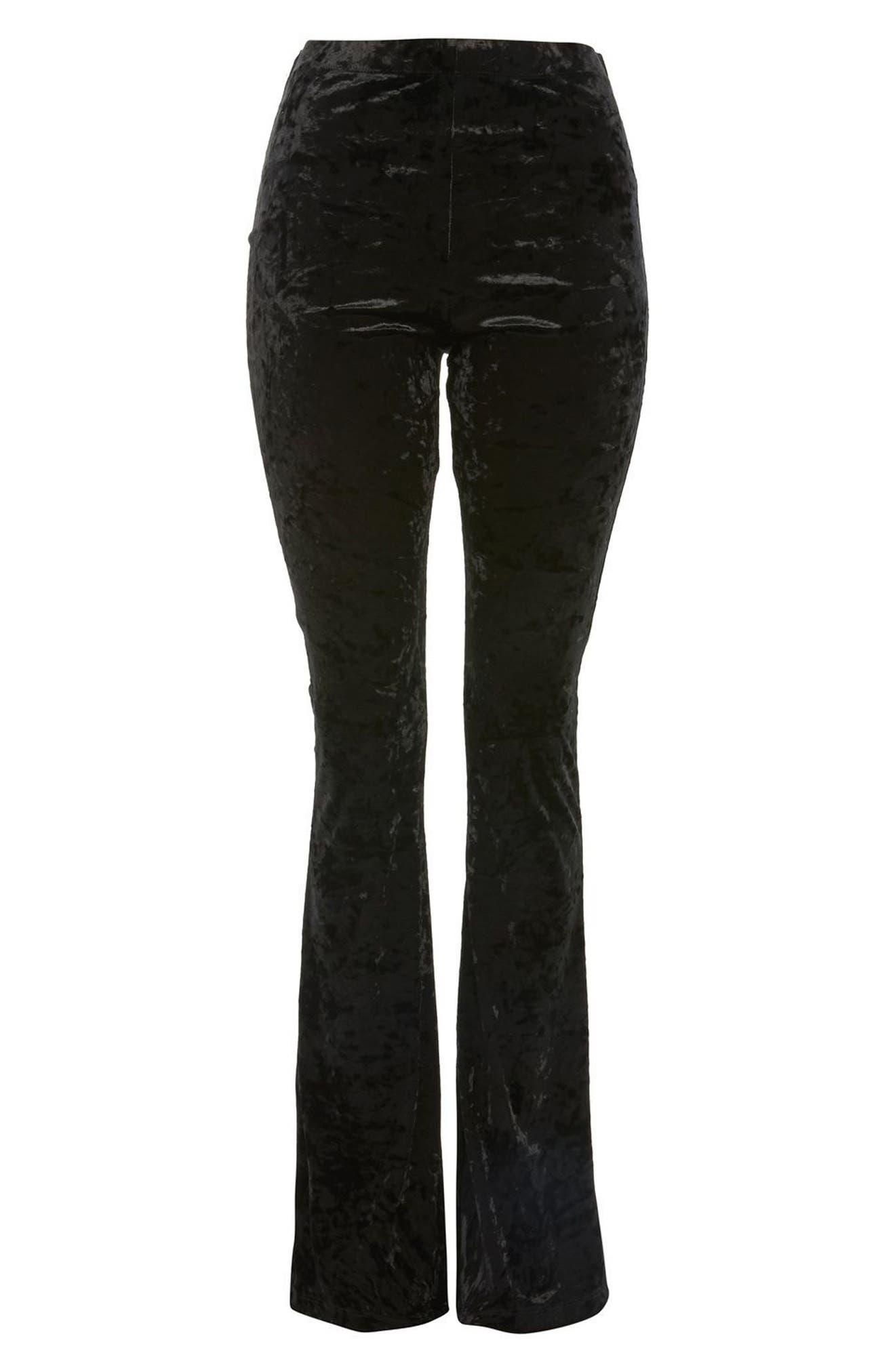 Velvet Flare Leg Trousers,                             Alternate thumbnail 3, color,                             001