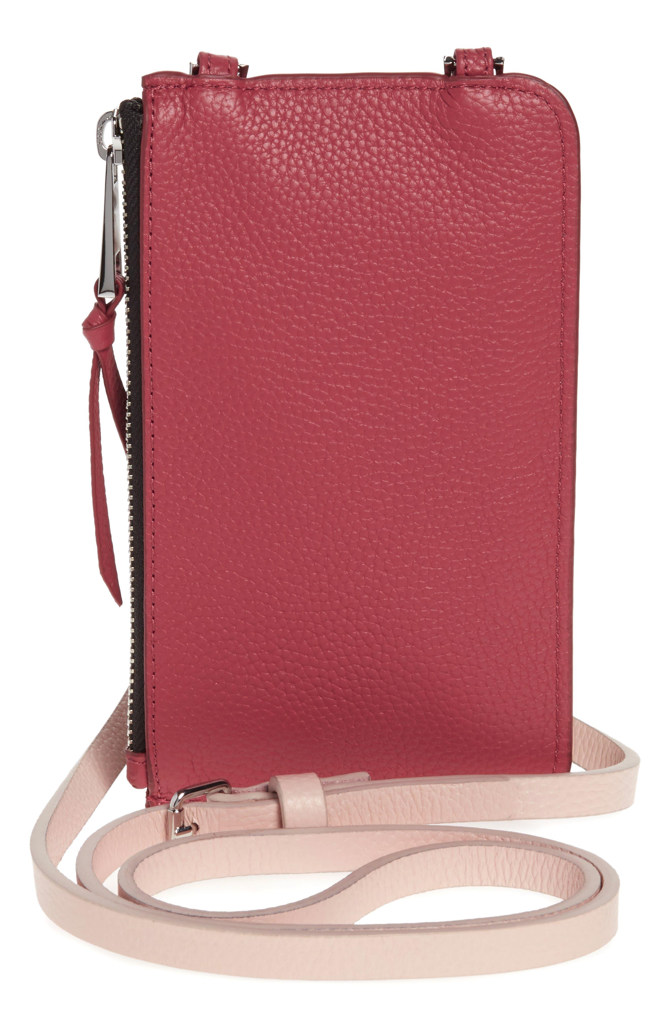 BANDOLIER,                             Emma Leather iPhone X/Xs Crossbody Case,                             Alternate thumbnail 5, color,                             PINK/ MAUVE
