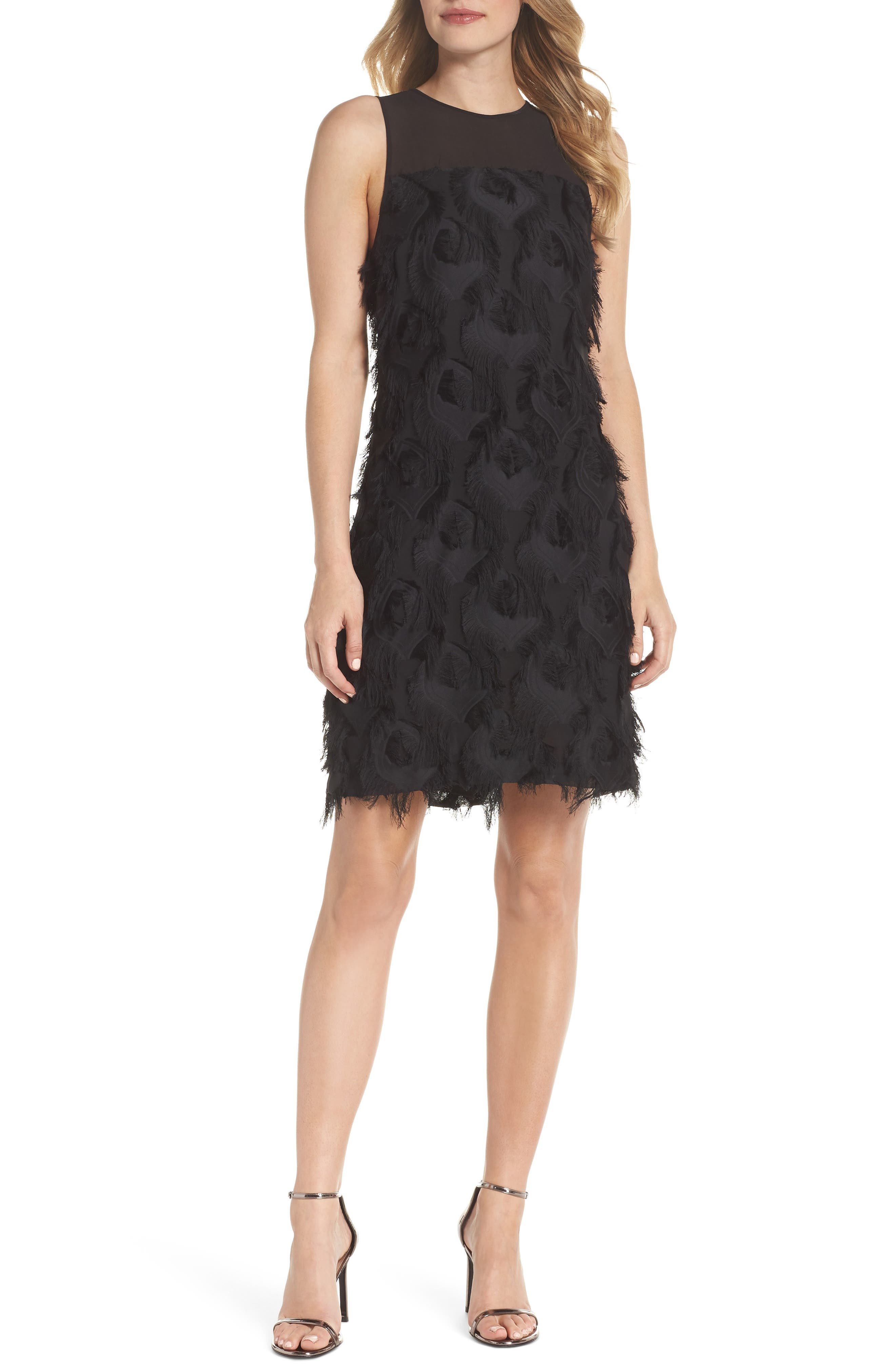 Jacquard Peacock Feather Dress in Black