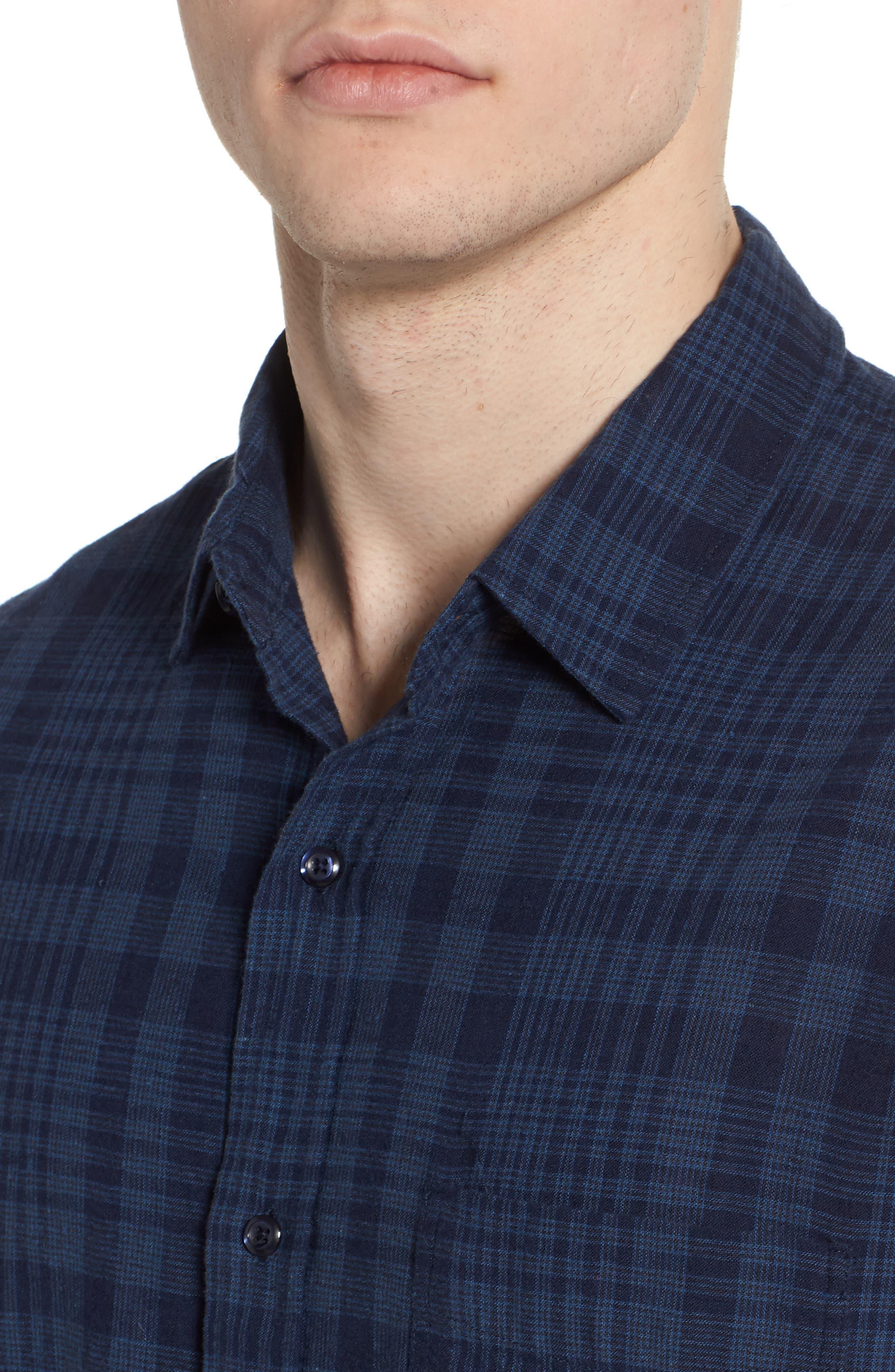 Connor Plaid Linen Blend Sport Shirt,                             Alternate thumbnail 4, color,                             497