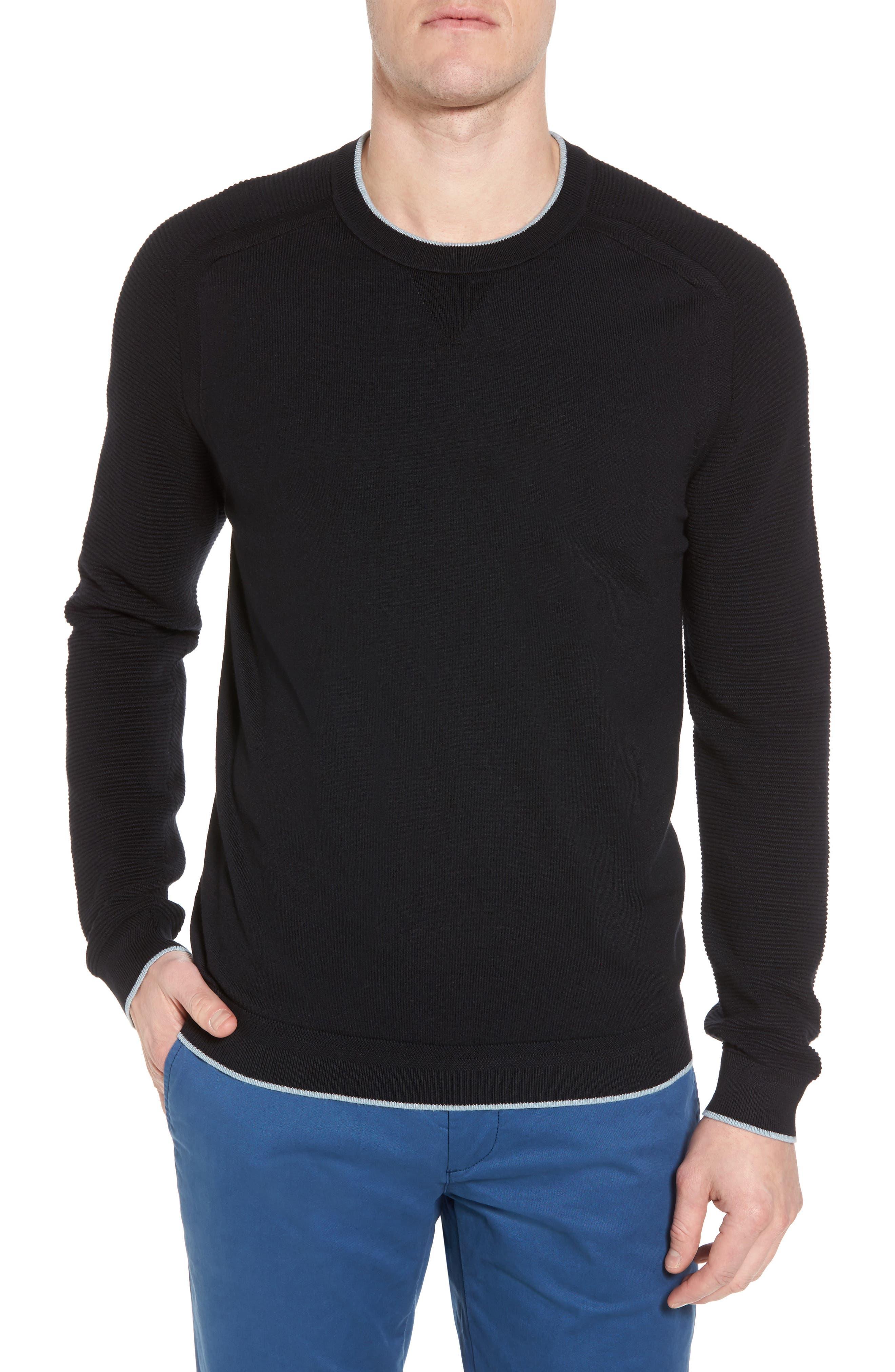 Kayfed Rib Sleeve Sweater,                             Main thumbnail 1, color,                             001