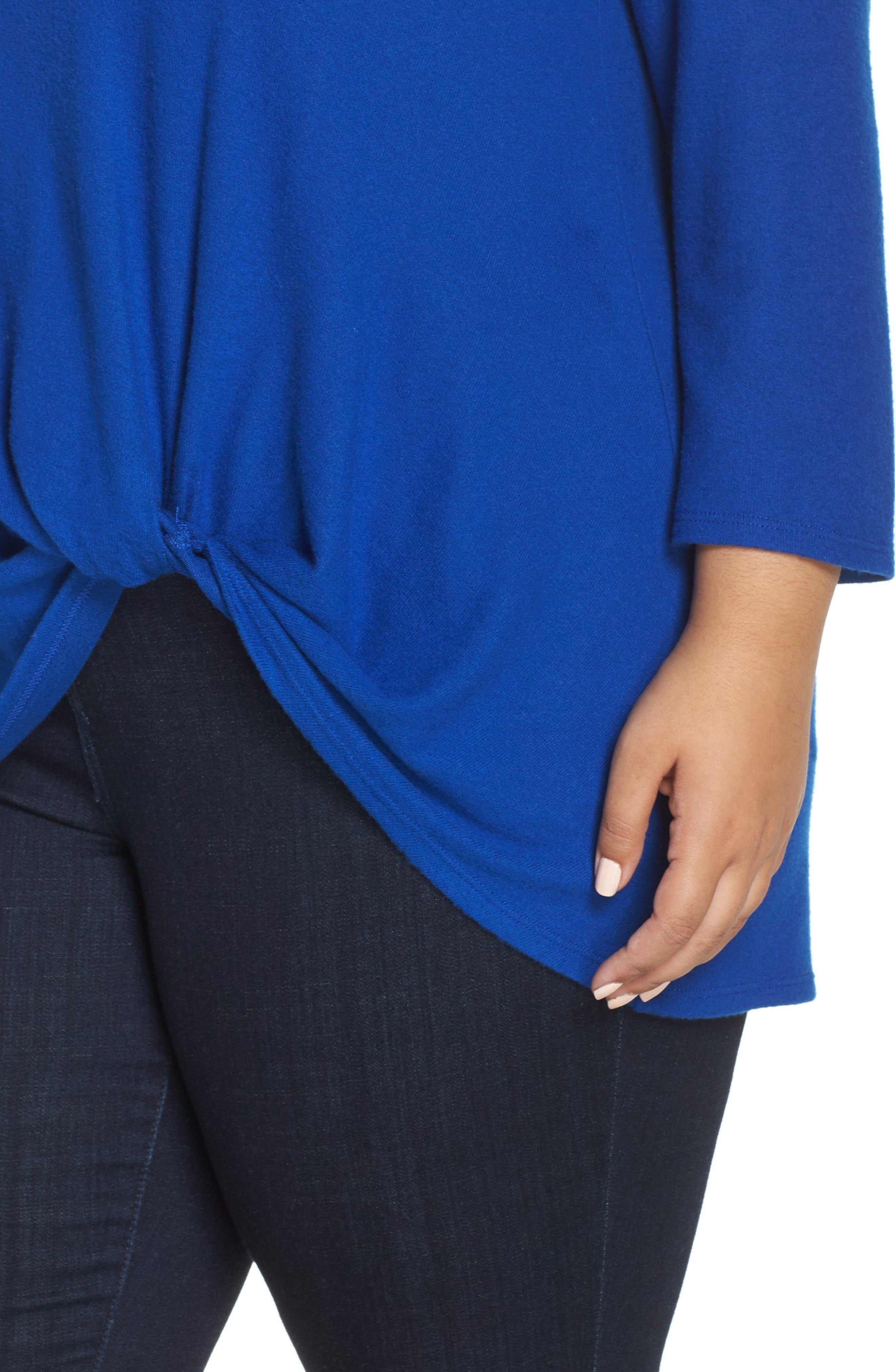 Twist Front Cozy Pullover,                             Alternate thumbnail 4, color,                             BLUE MAZE