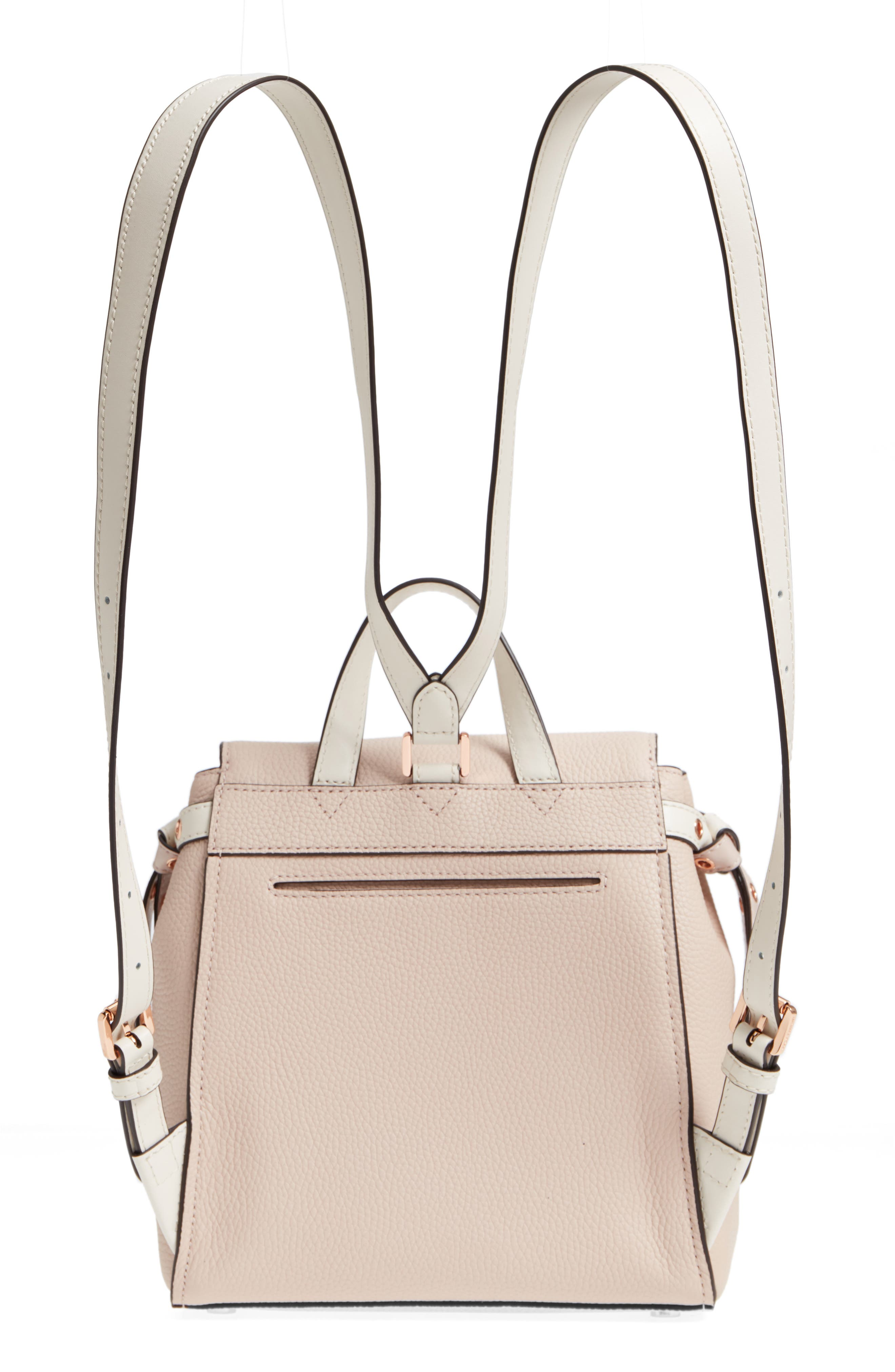 MICHAEL Michael Kors Small Flower Embellished Leather Backpack,                             Alternate thumbnail 6, color,