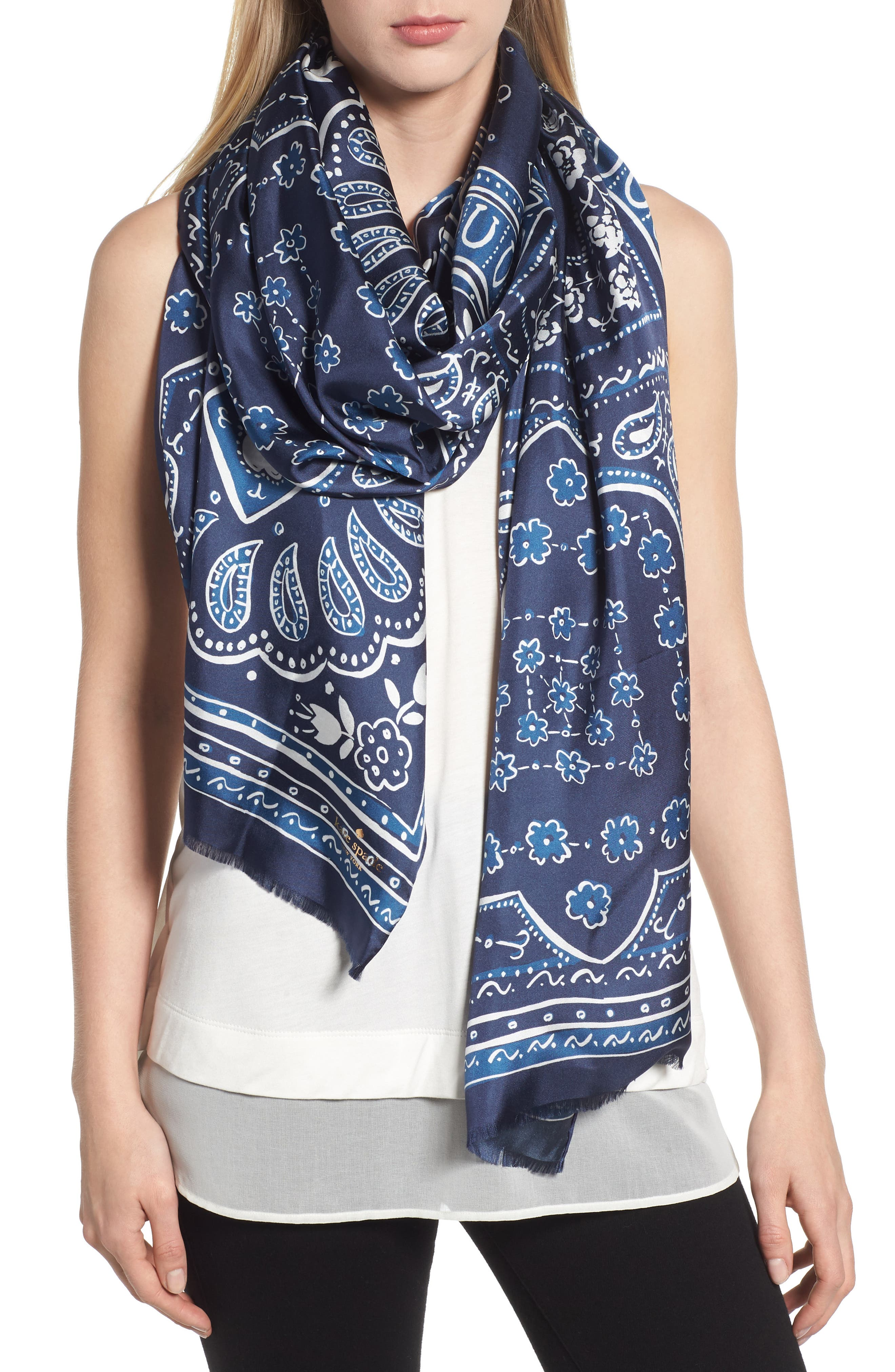 bandana silk oblong scarf,                             Main thumbnail 1, color,                             VOYAGE BLUE
