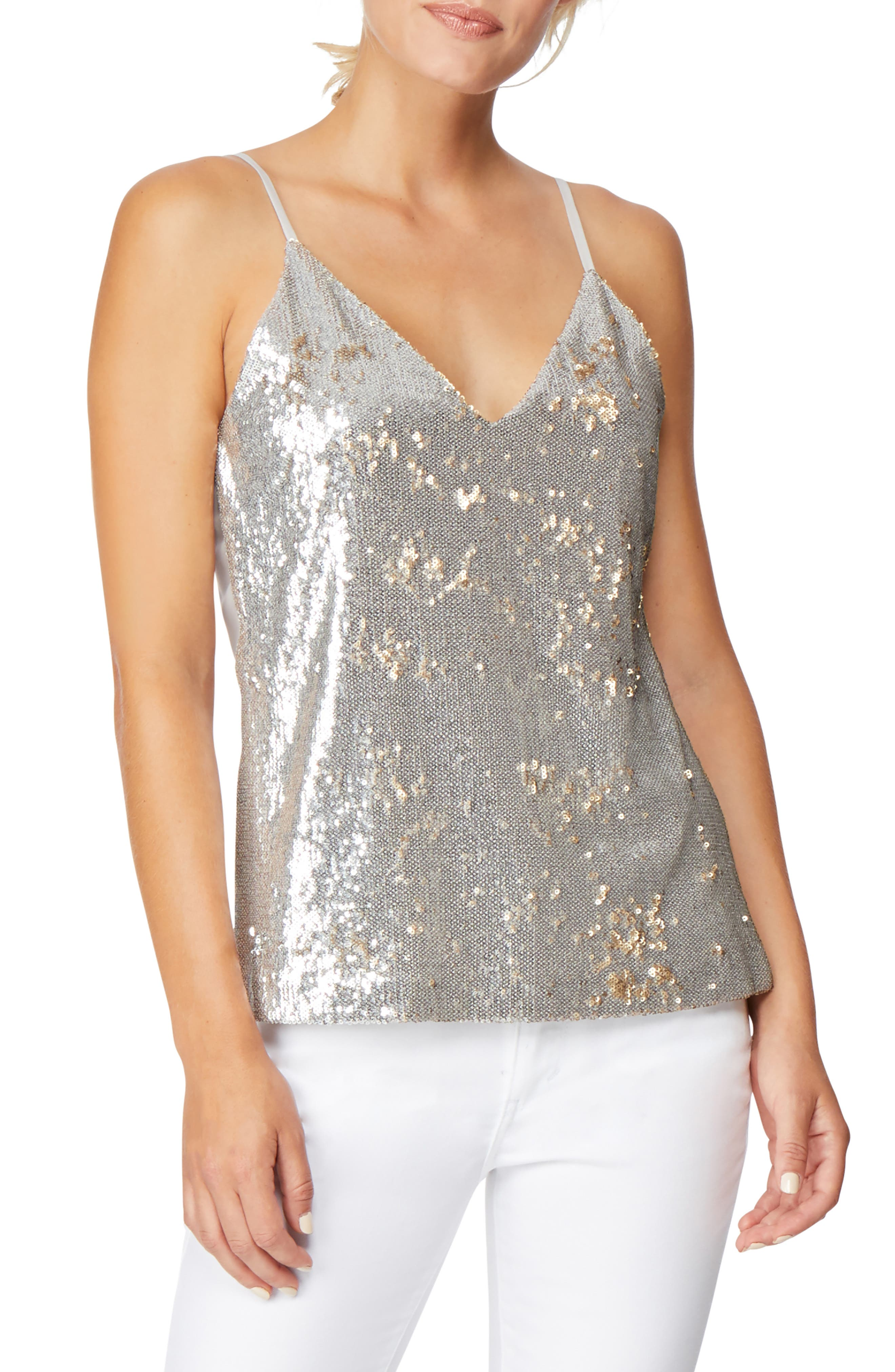 Mixed Media Reversible Sequin Camisole,                             Main thumbnail 1, color,                             SILVER/ GOLD