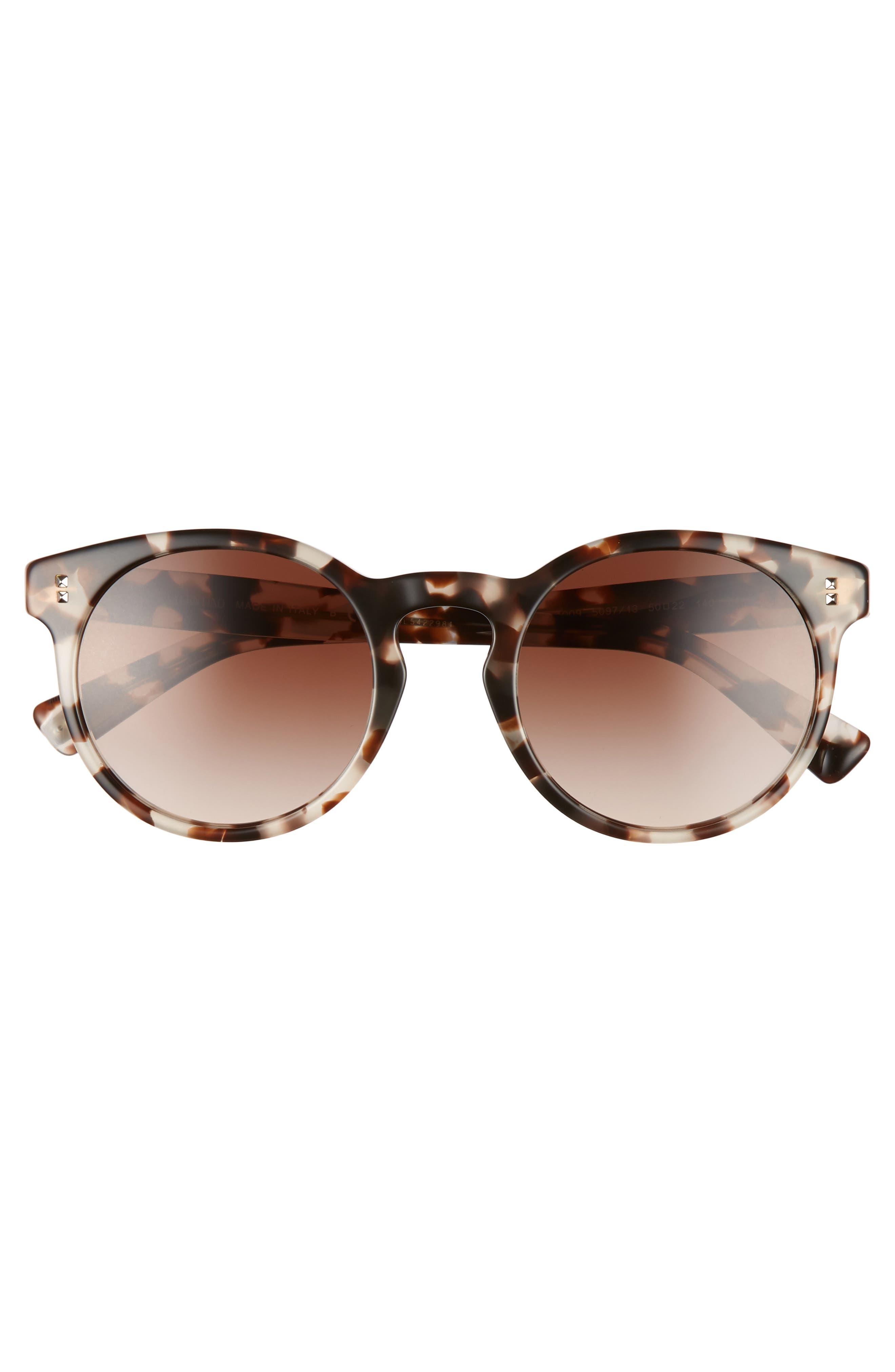 50mm Retro Sunglasses,                             Alternate thumbnail 3, color,                             BEIGE TORTOISE/ BROWN GRADIENT