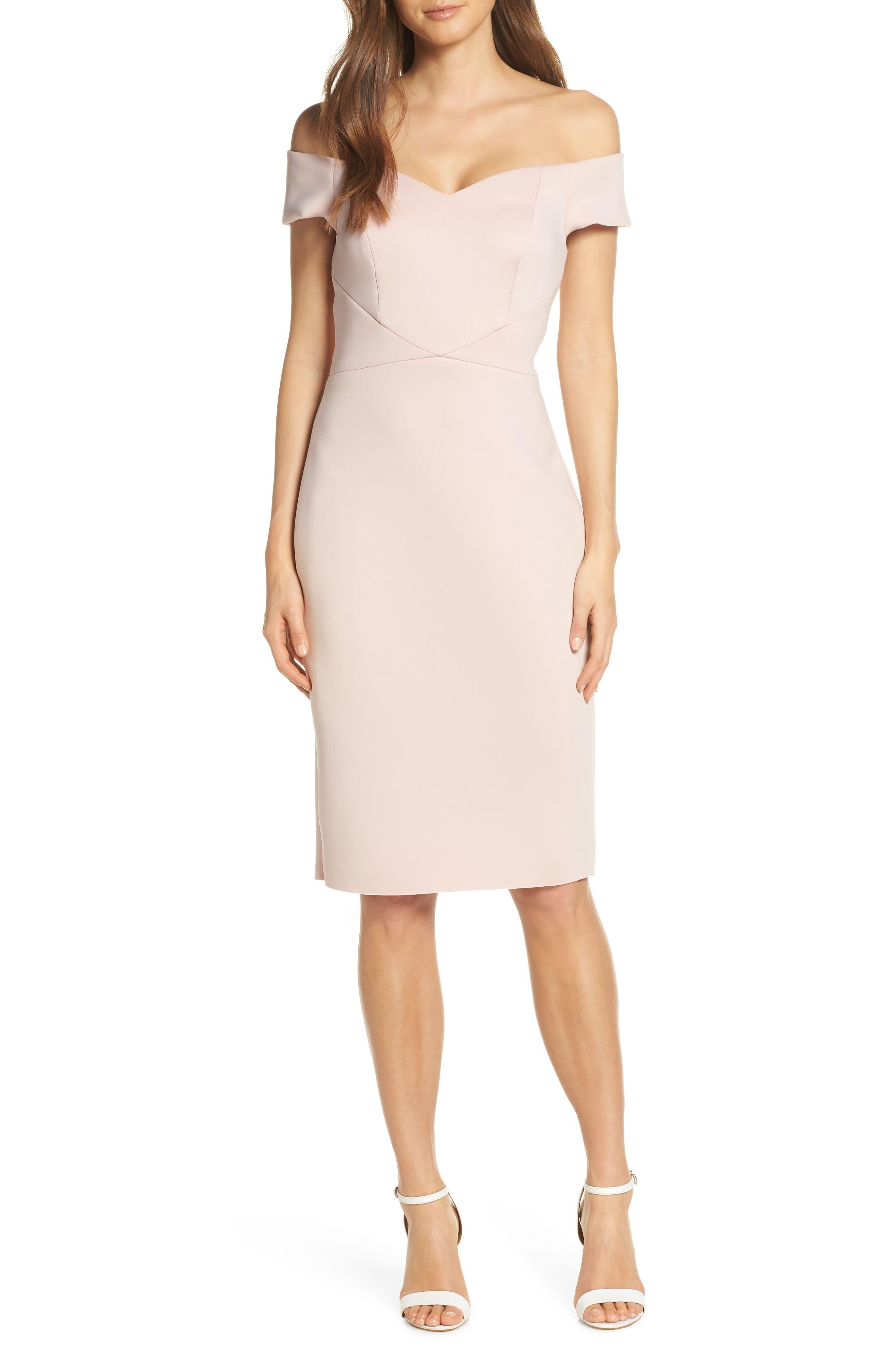 Eliza J Off The Shoulder Sheath Dress, Pink