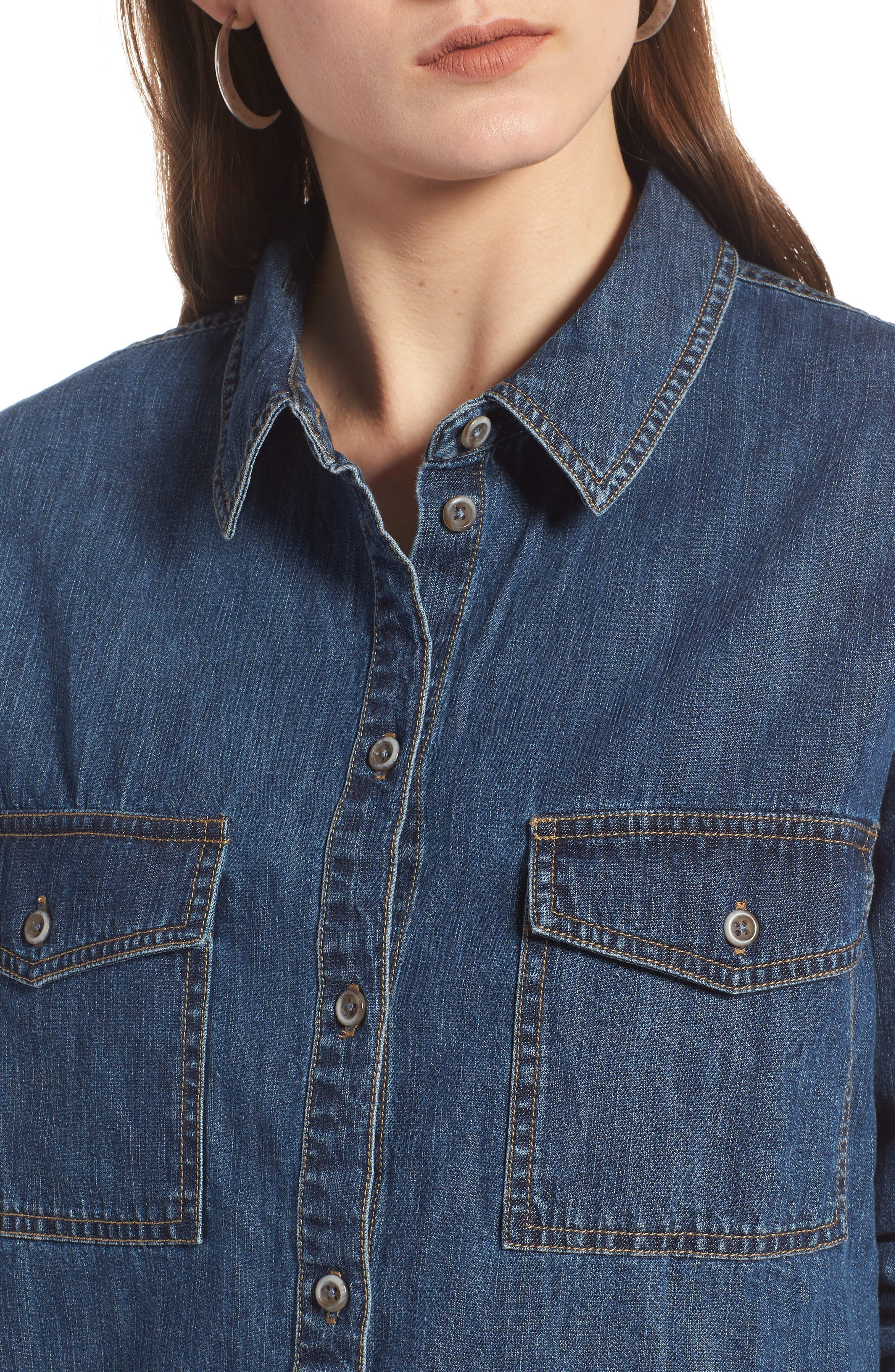 Denim Boyfriend Shirt,                             Alternate thumbnail 4, color,                             401