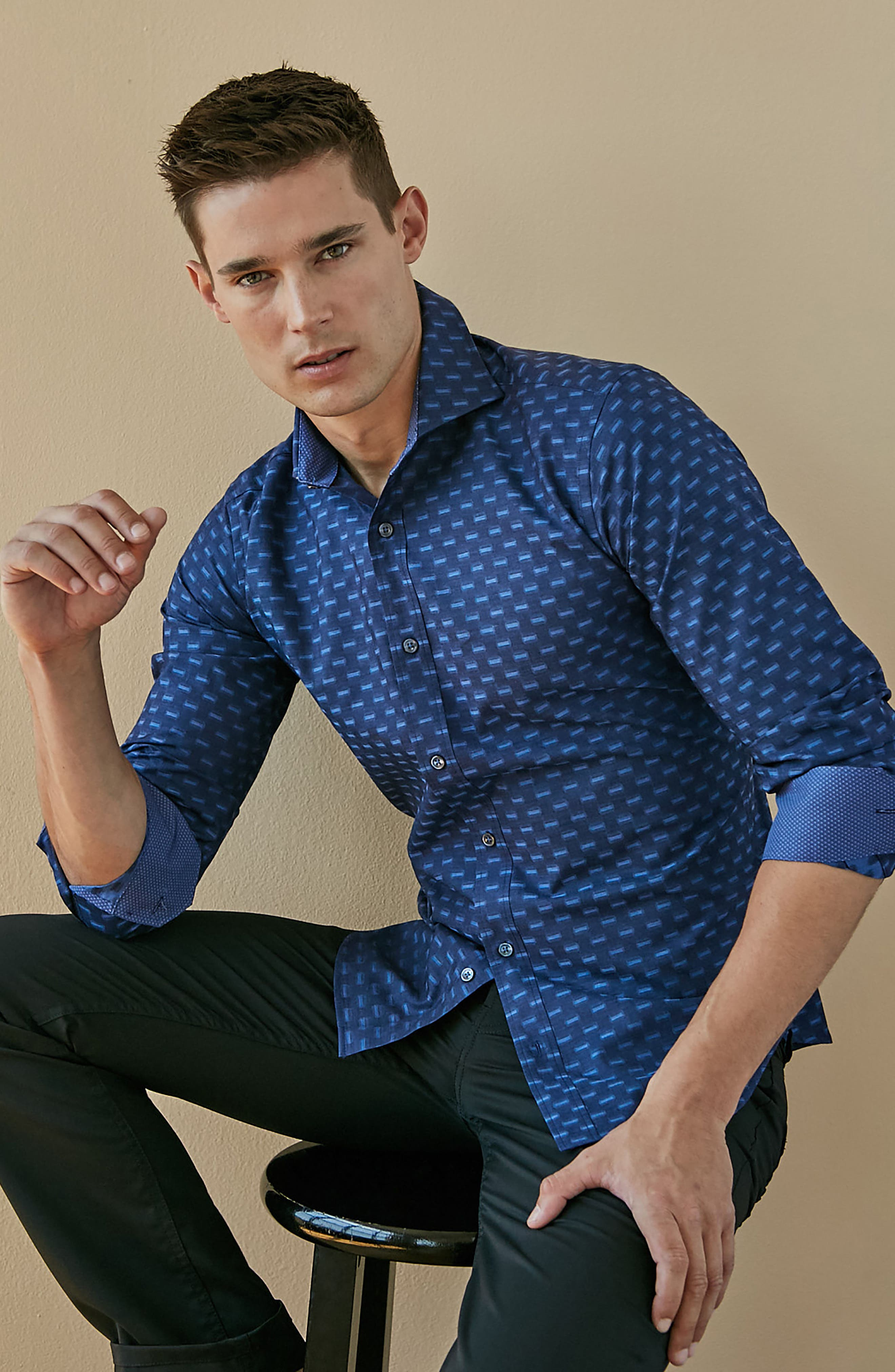 Classic Fit Jacquard Sport Shirt,                             Alternate thumbnail 7, color,                             410