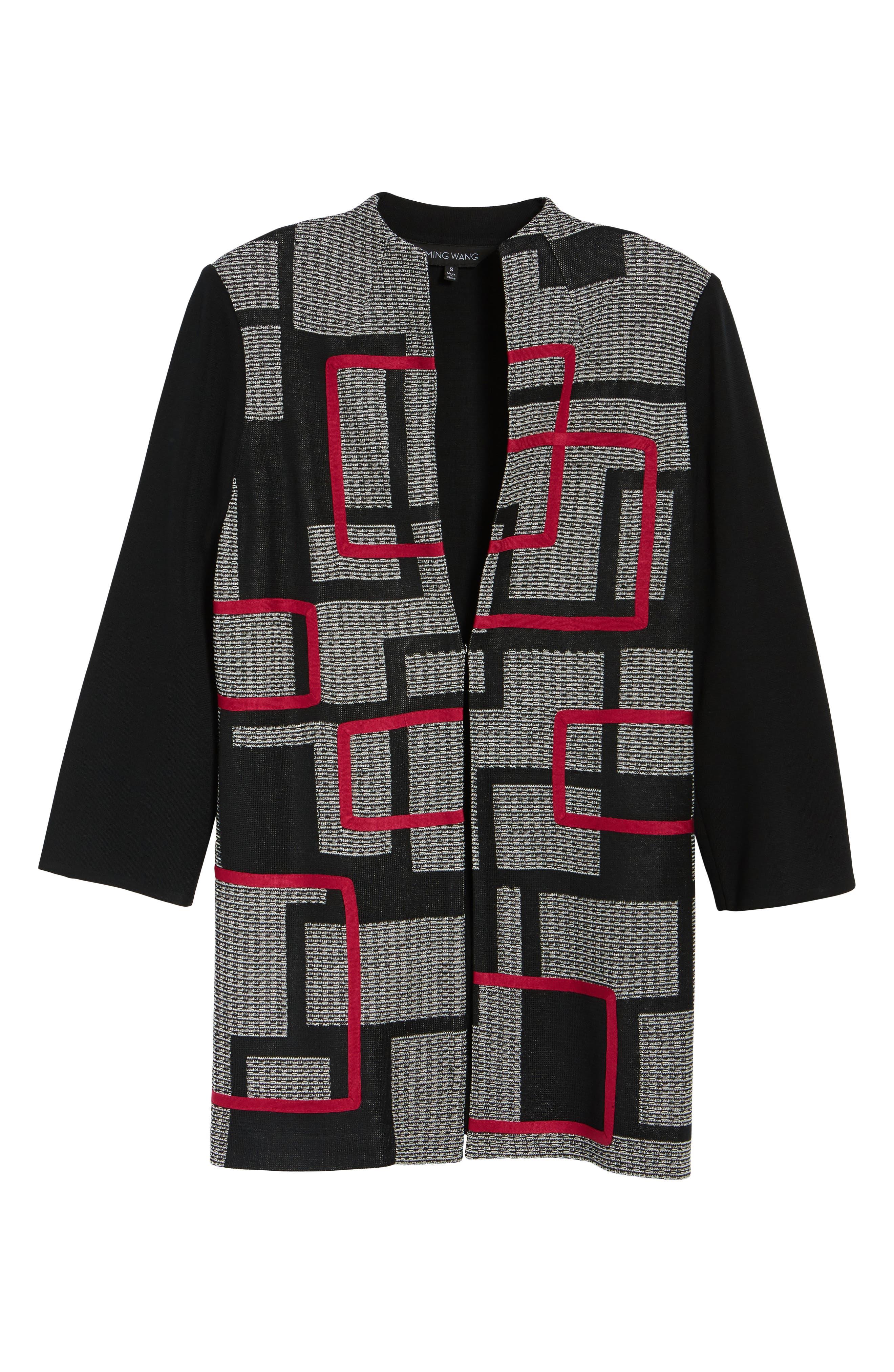 Textured Knit Long Jacket,                             Alternate thumbnail 5, color,