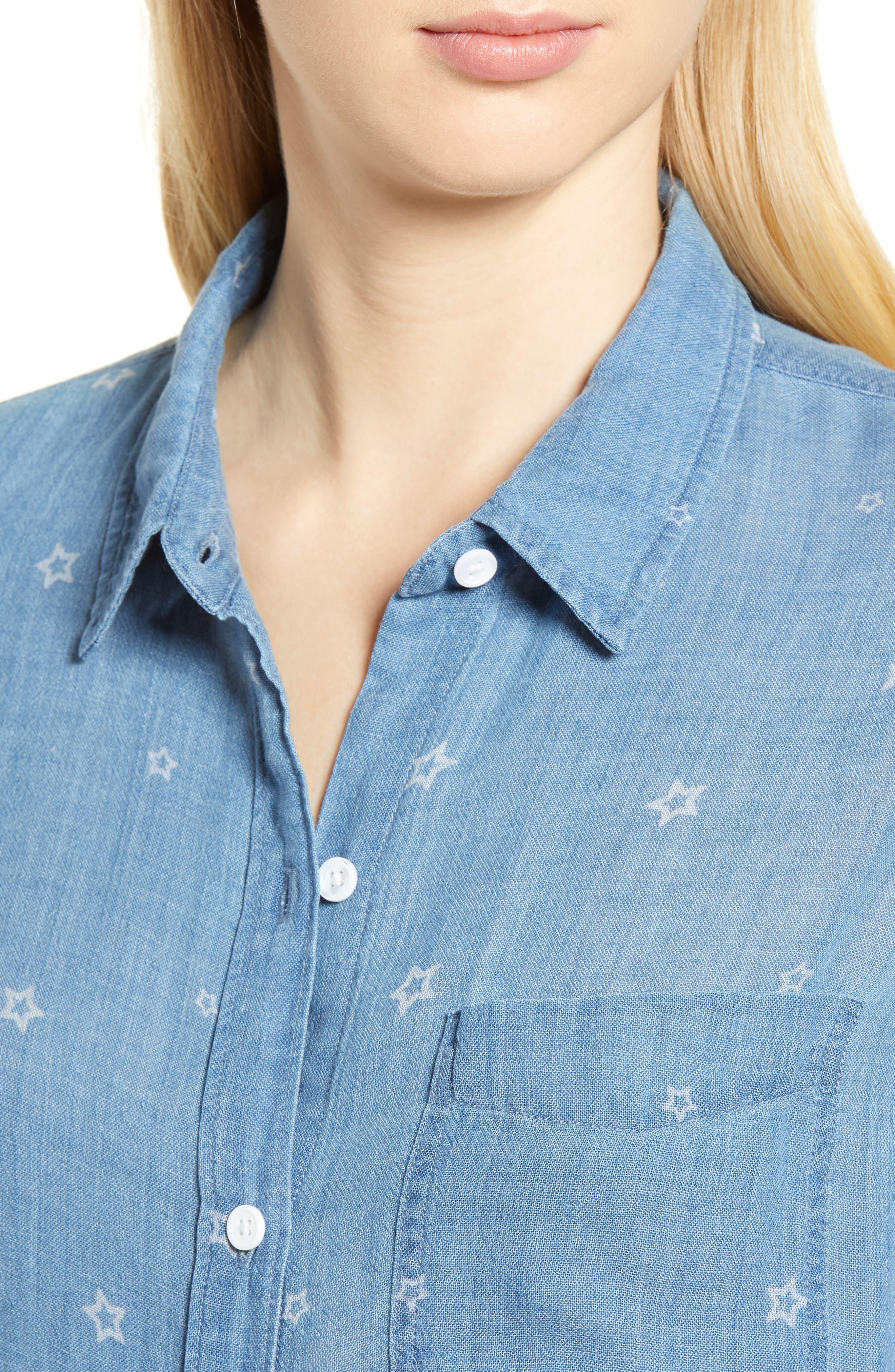 Ingrid Chambray Shirt,                             Alternate thumbnail 4, color,                             INDIGO STARS