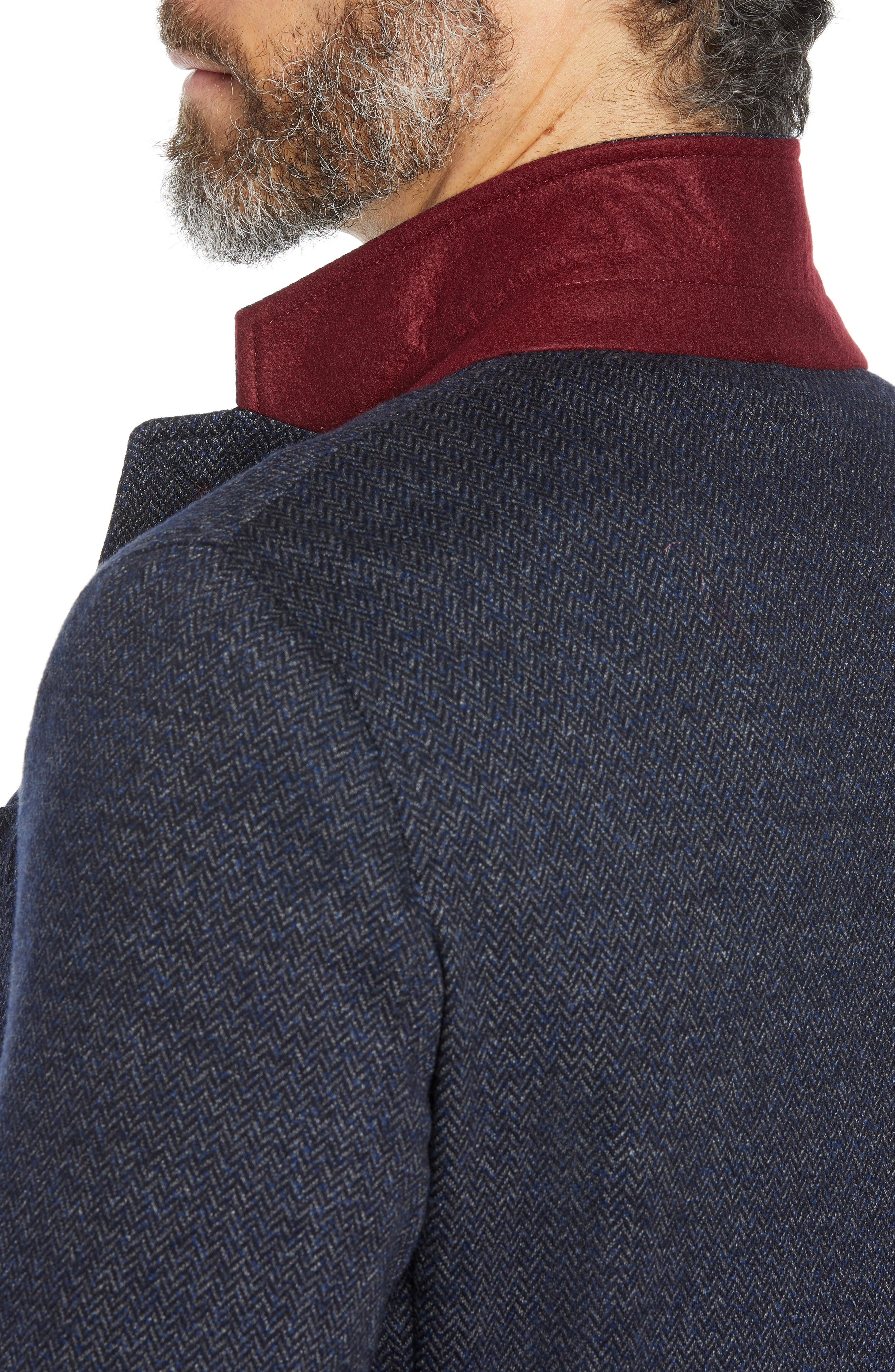 Cotton & Wool Blazer,                             Alternate thumbnail 4, color,                             NIGHT BLUE
