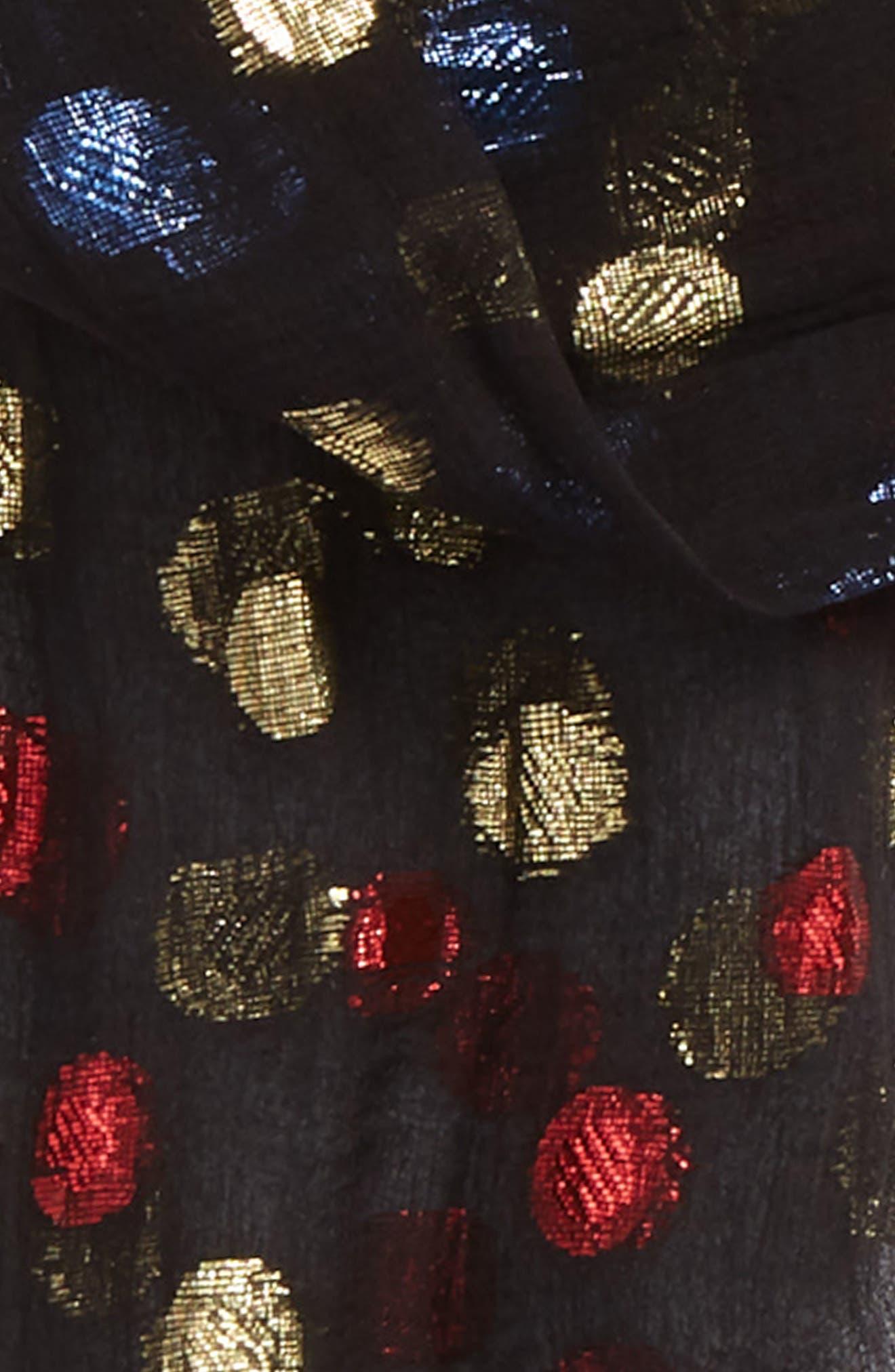 Metallic Polka Dots Silk Skinny Scarf,                             Alternate thumbnail 3, color,                             976