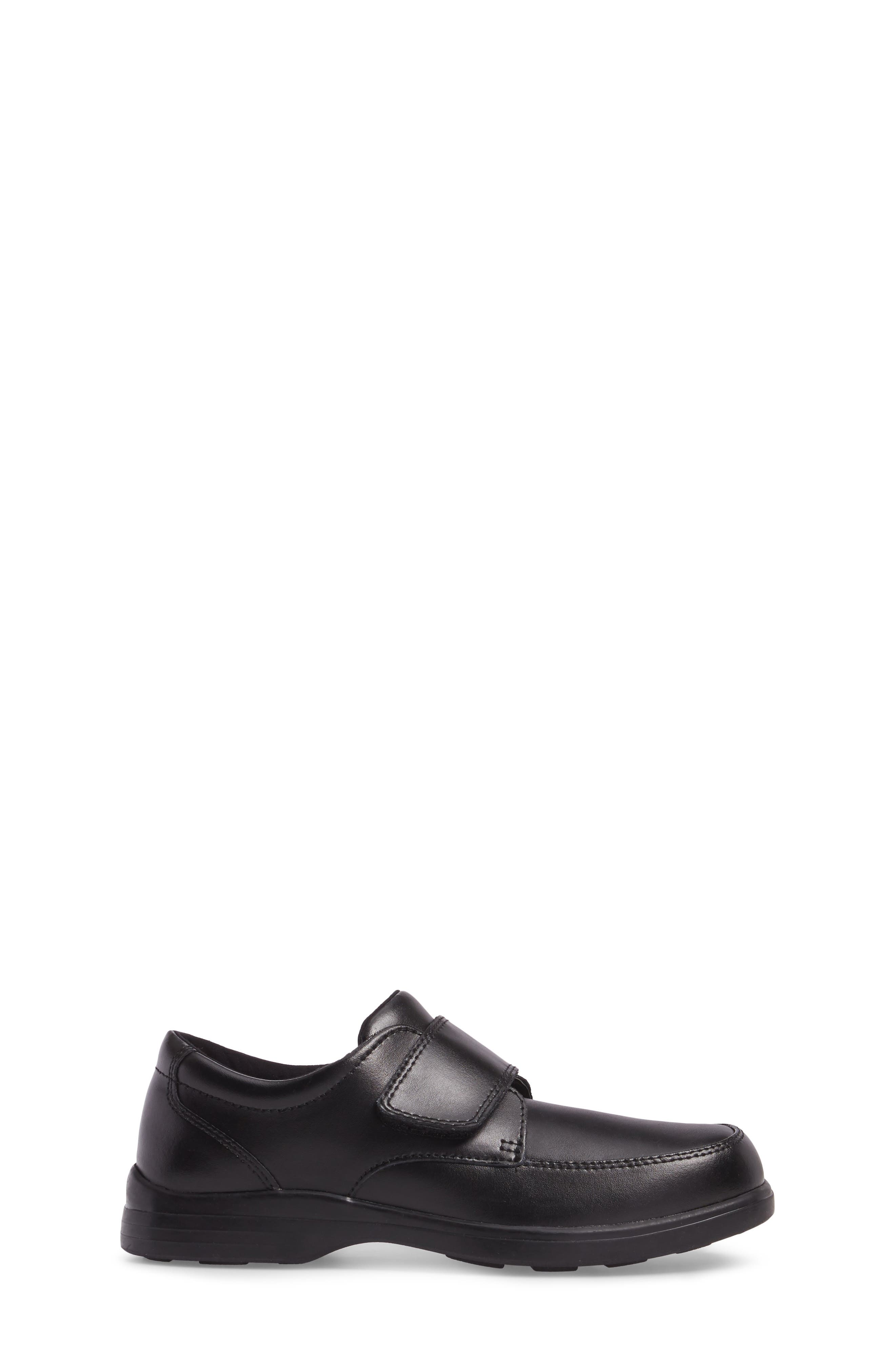 Hush Puppies Gavin Front Strap Dress Shoe,                             Alternate thumbnail 3, color,                             BLACK LEATHER