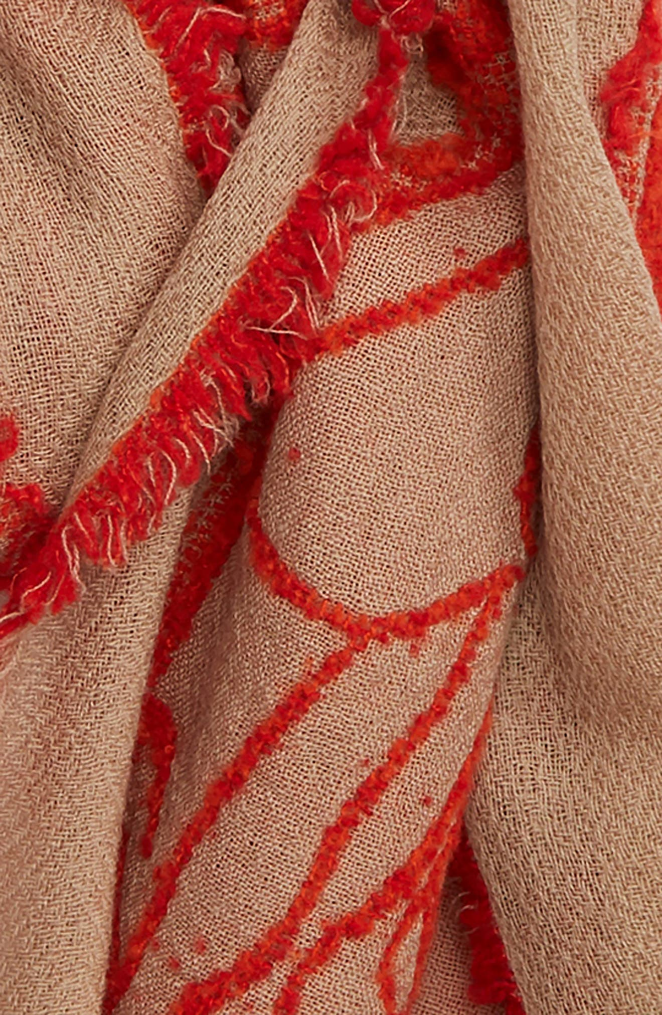 Rose Jacquard Wool Blend Scarf,                             Alternate thumbnail 3, color,                             RED X BEIGE
