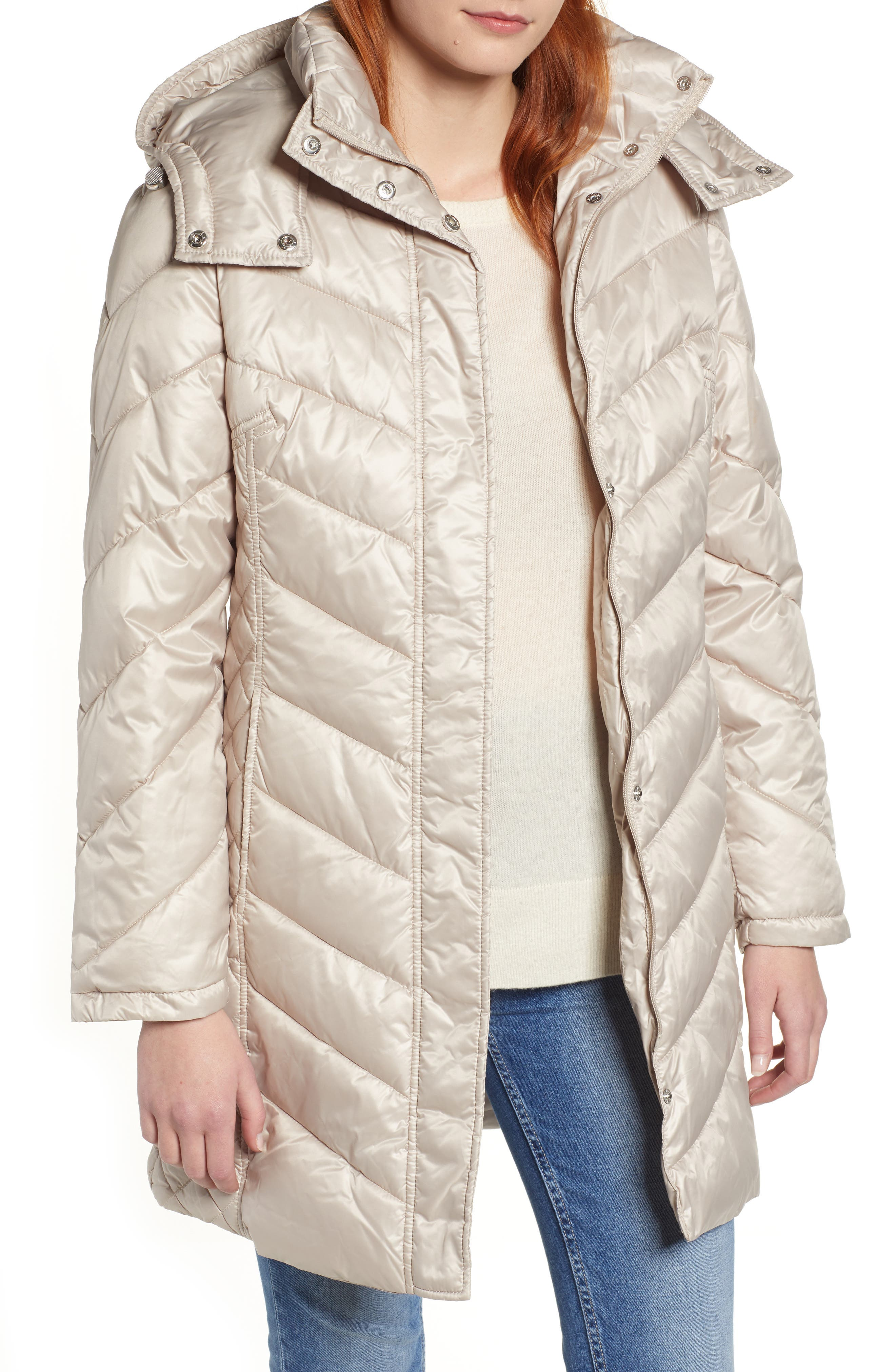 Kenneth Cole New York Mixed Quilting Puffer Jacket, Ivory