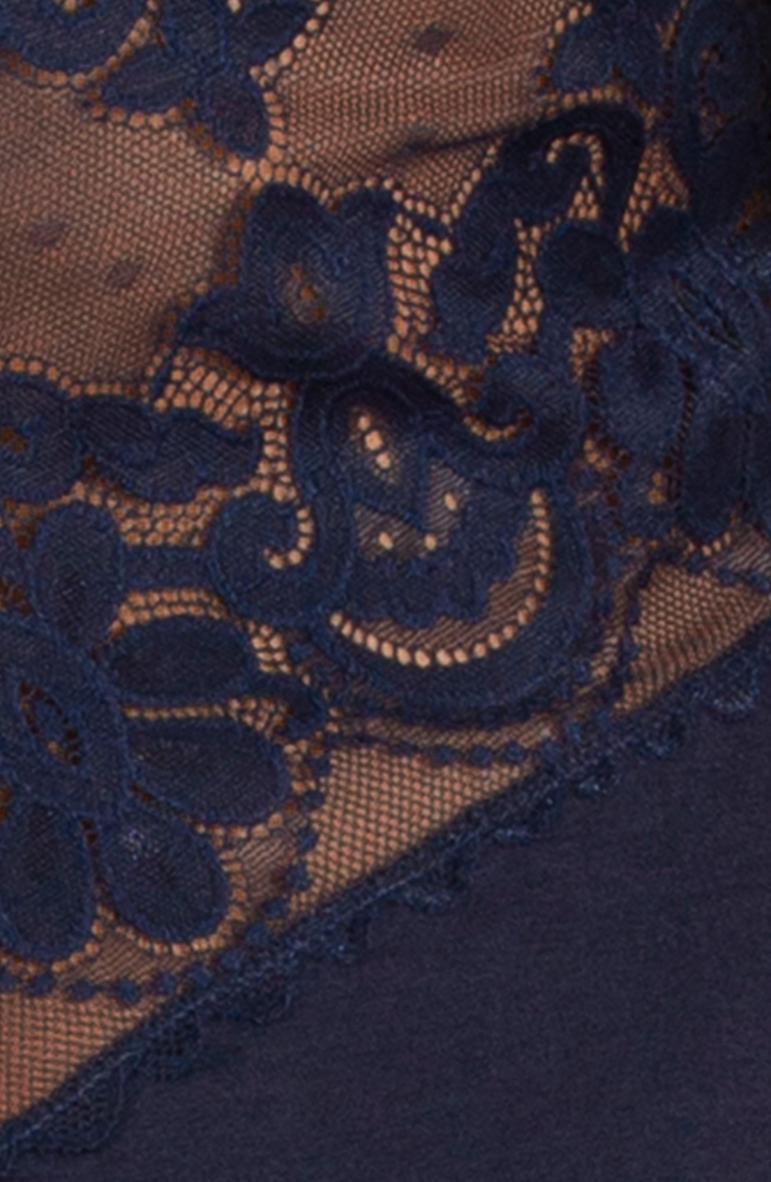 Lace Trim Chemise,                             Alternate thumbnail 4, color,                             NAVY BLUE