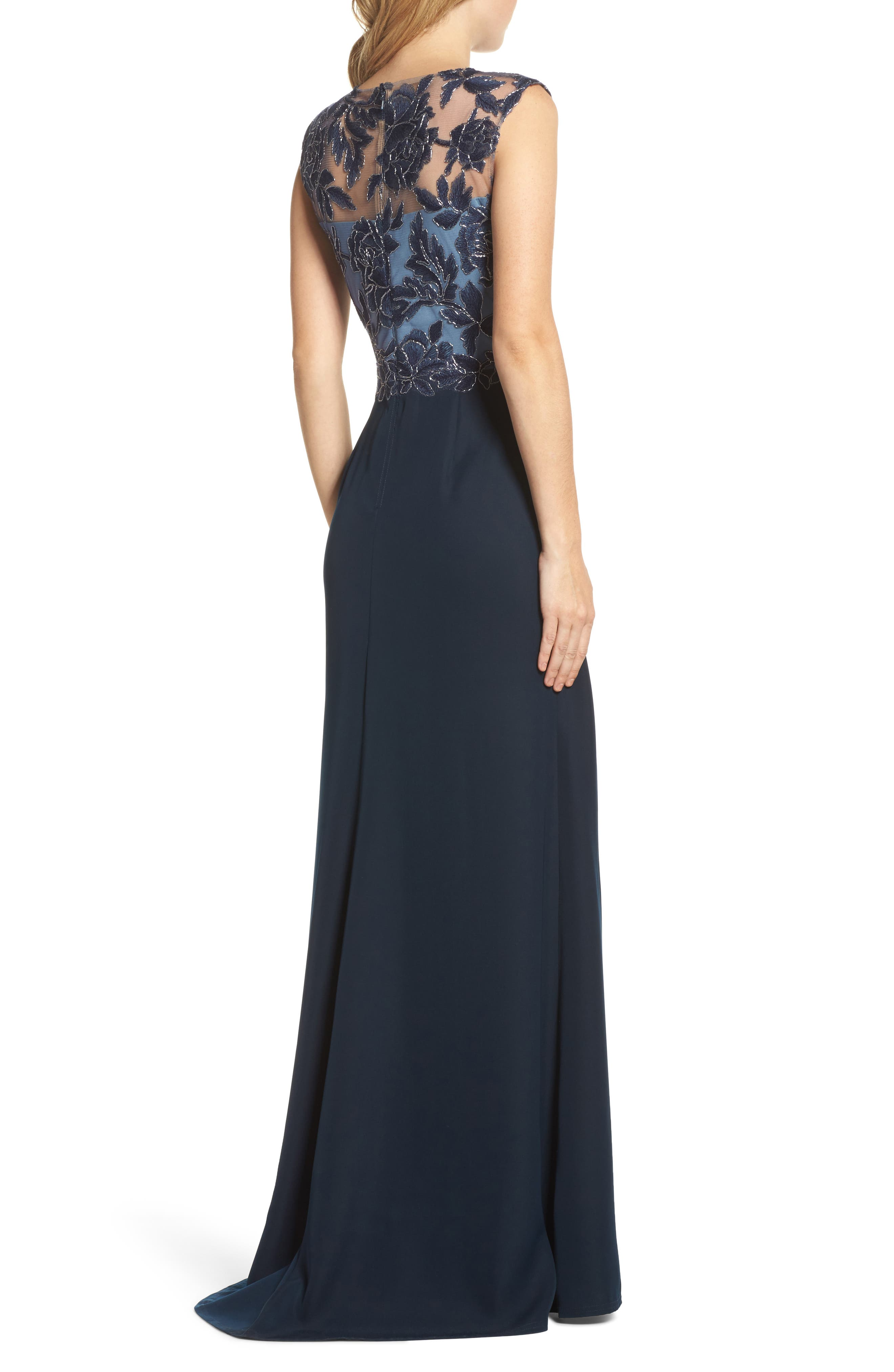 Embroidered Mesh & Crepe Gown,                             Alternate thumbnail 2, color,                             466