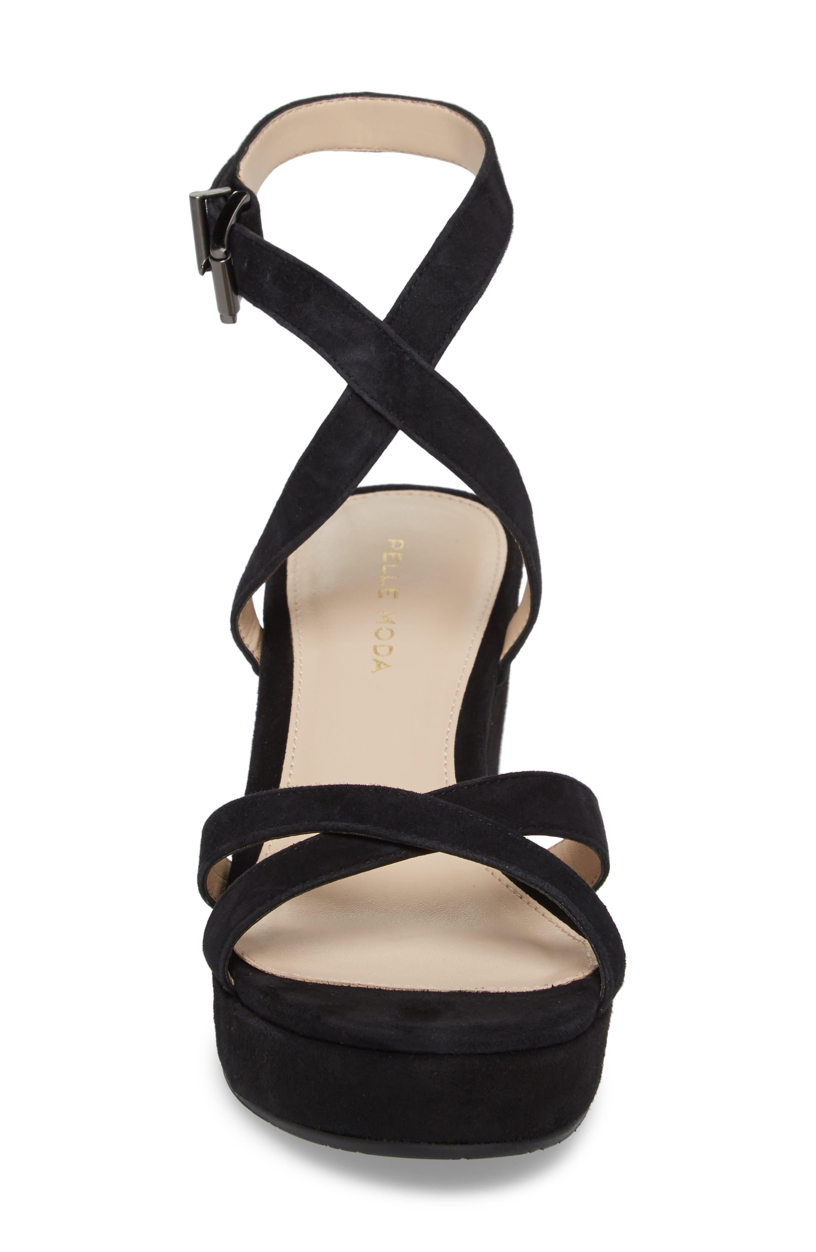 Keo2 Platform Wedge Sandal,                             Alternate thumbnail 4, color,                             BLACK SUEDE
