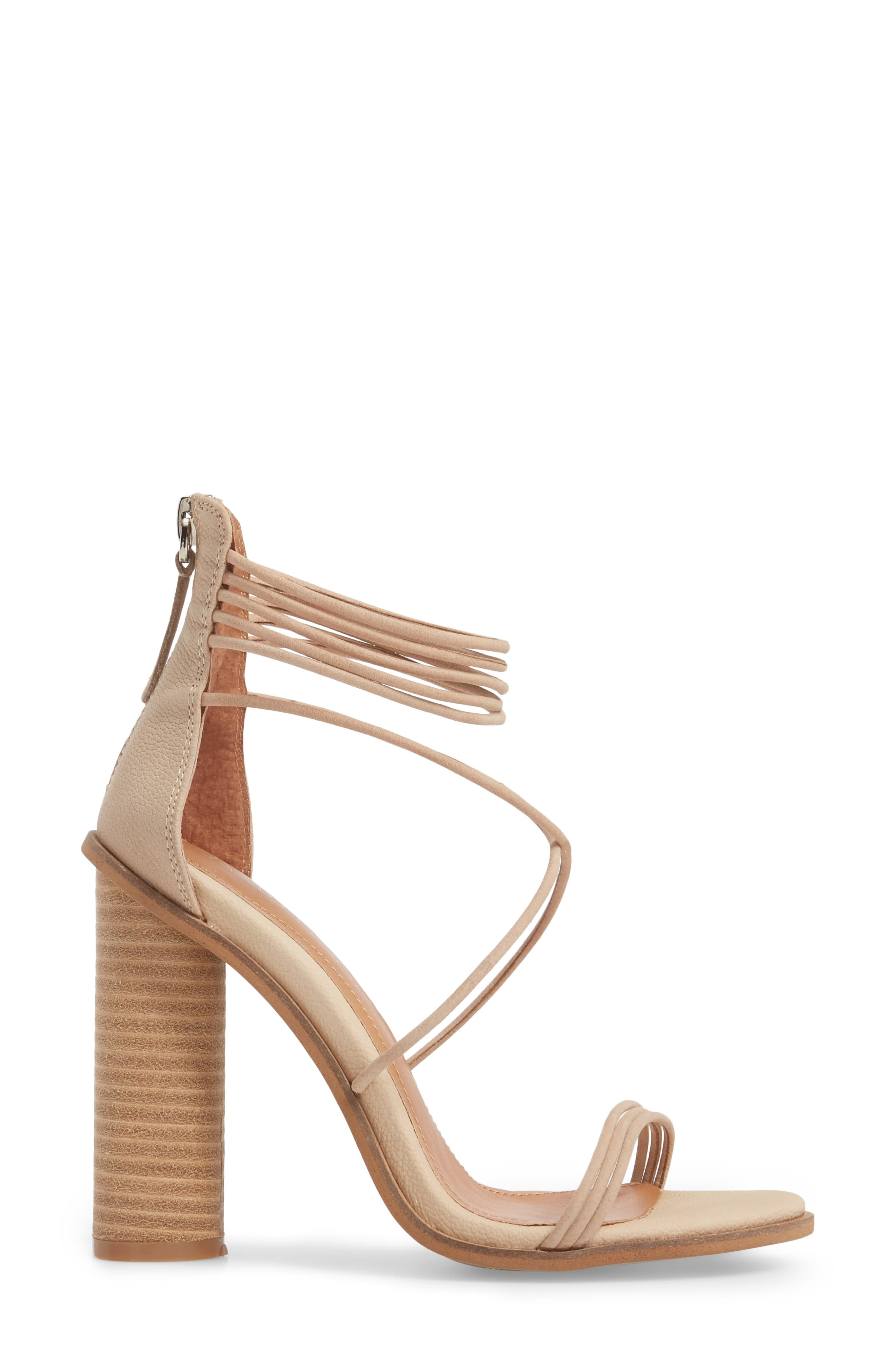 Aflux Tall Strappy Sandal,                             Alternate thumbnail 3, color,                             NATURAL LEATHER