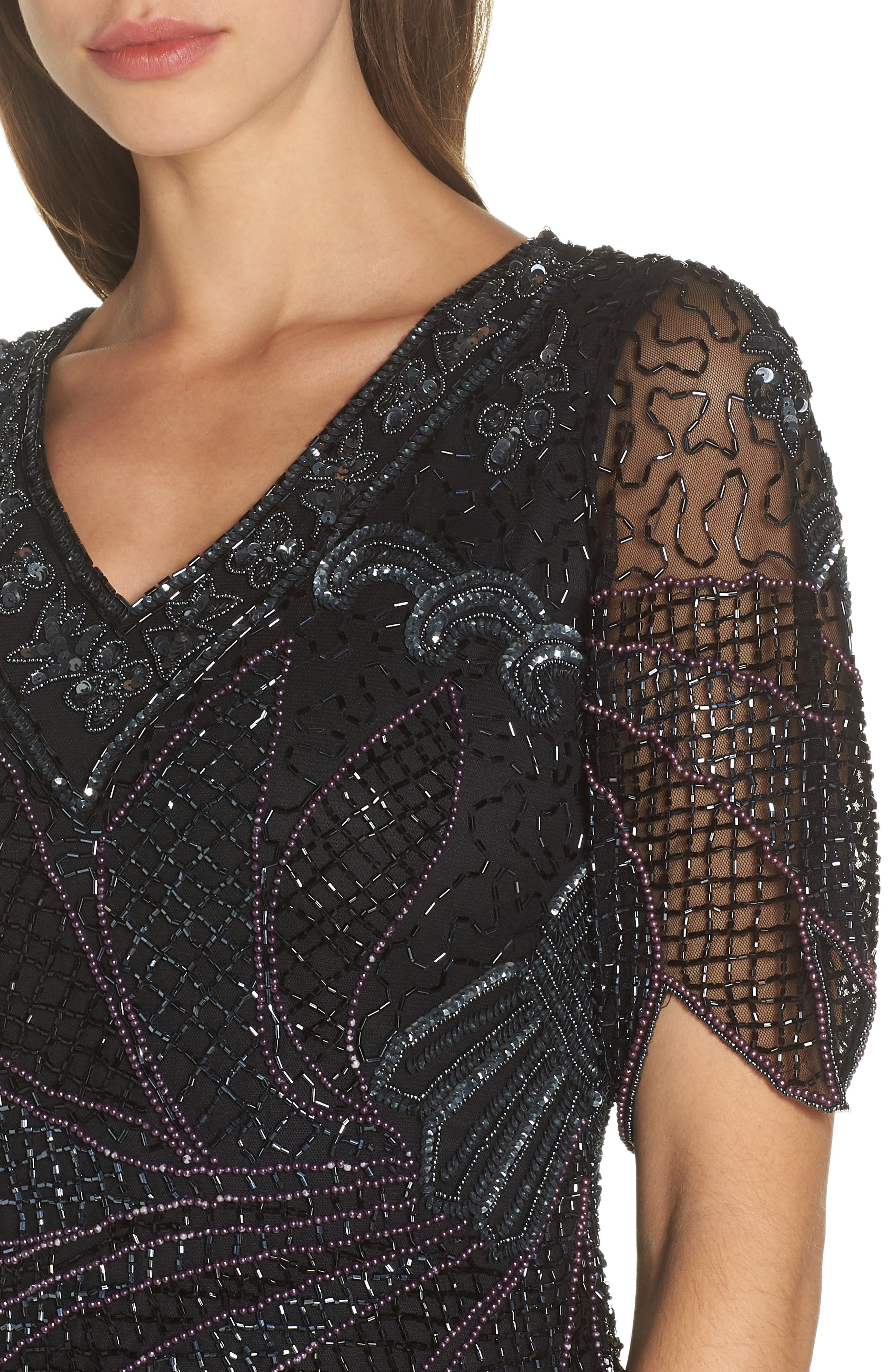 Beaded Mock Two-Piece Gown,                             Alternate thumbnail 4, color,                             BLACK