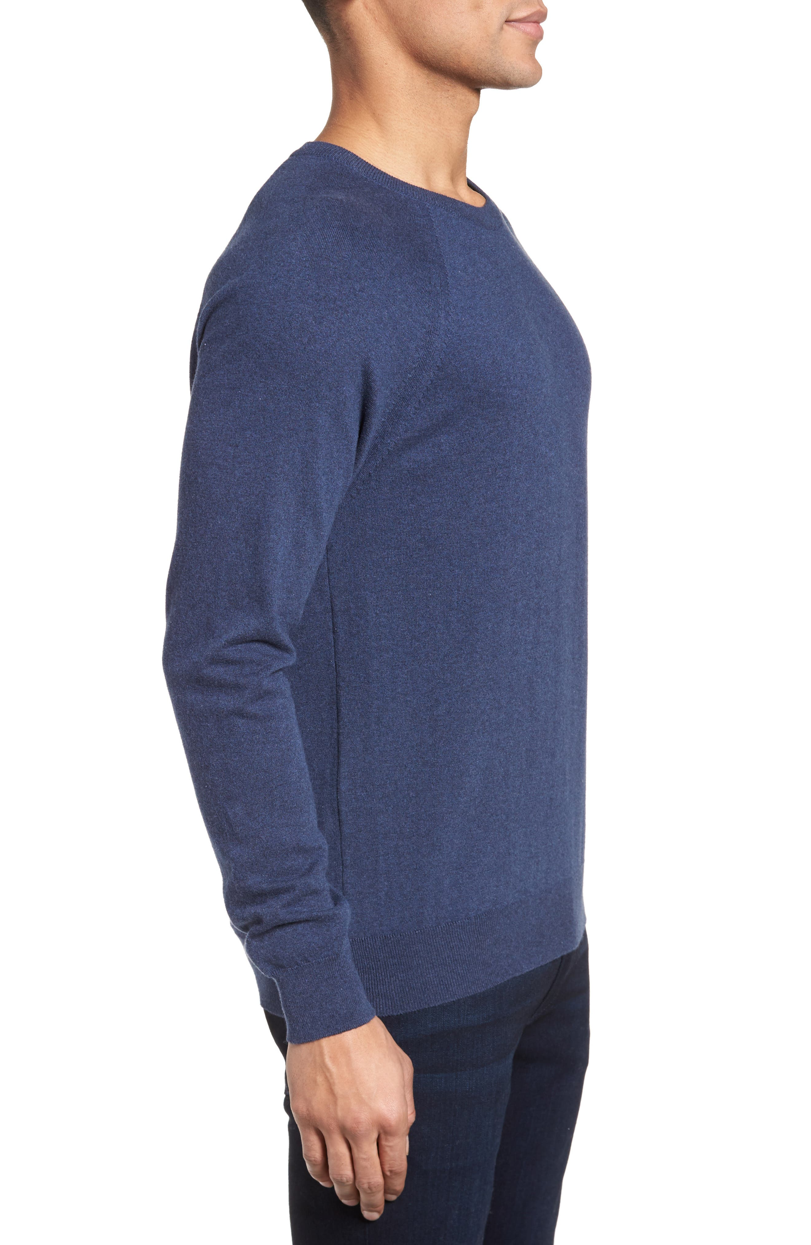 Regular Fit Stretch Cotton Sweater,                             Alternate thumbnail 3, color,                             INDIGO MELANGE