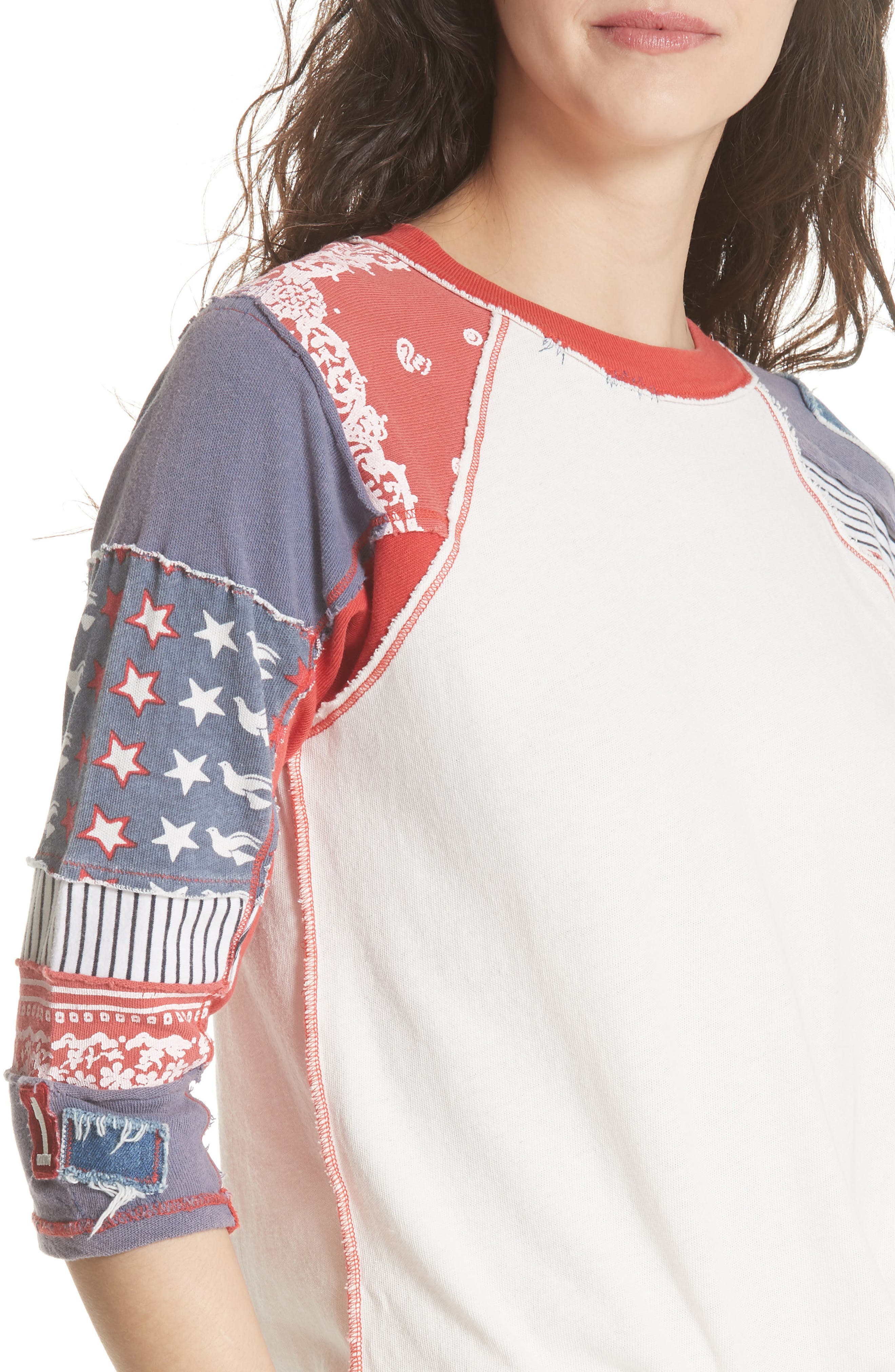 We the Free by Free People Bright Star Raglan Sleeve Tee,                             Alternate thumbnail 4, color,                             100