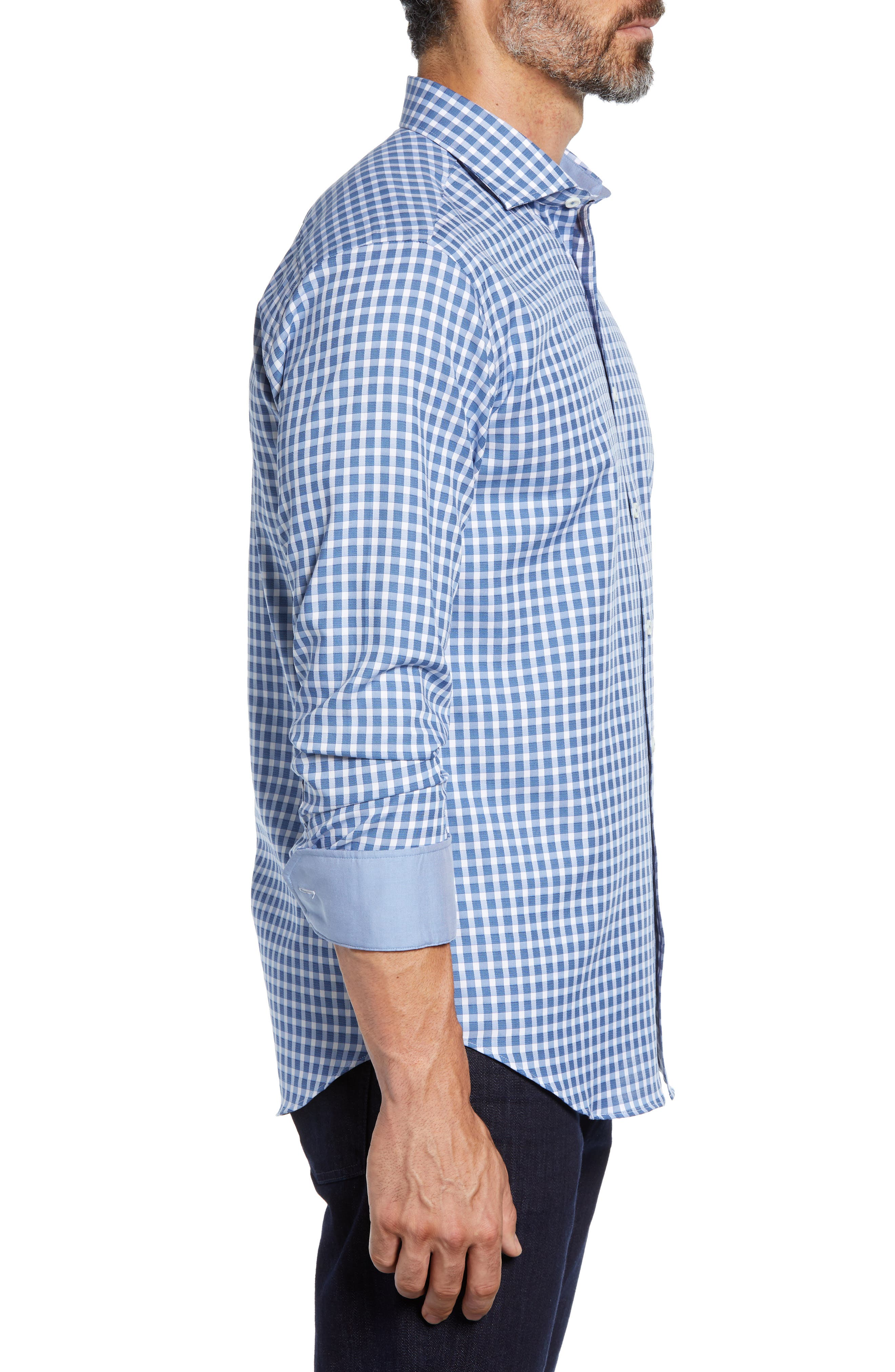 Shaped Fit Check Sport Shirt,                             Alternate thumbnail 4, color,                             AIR BLUE