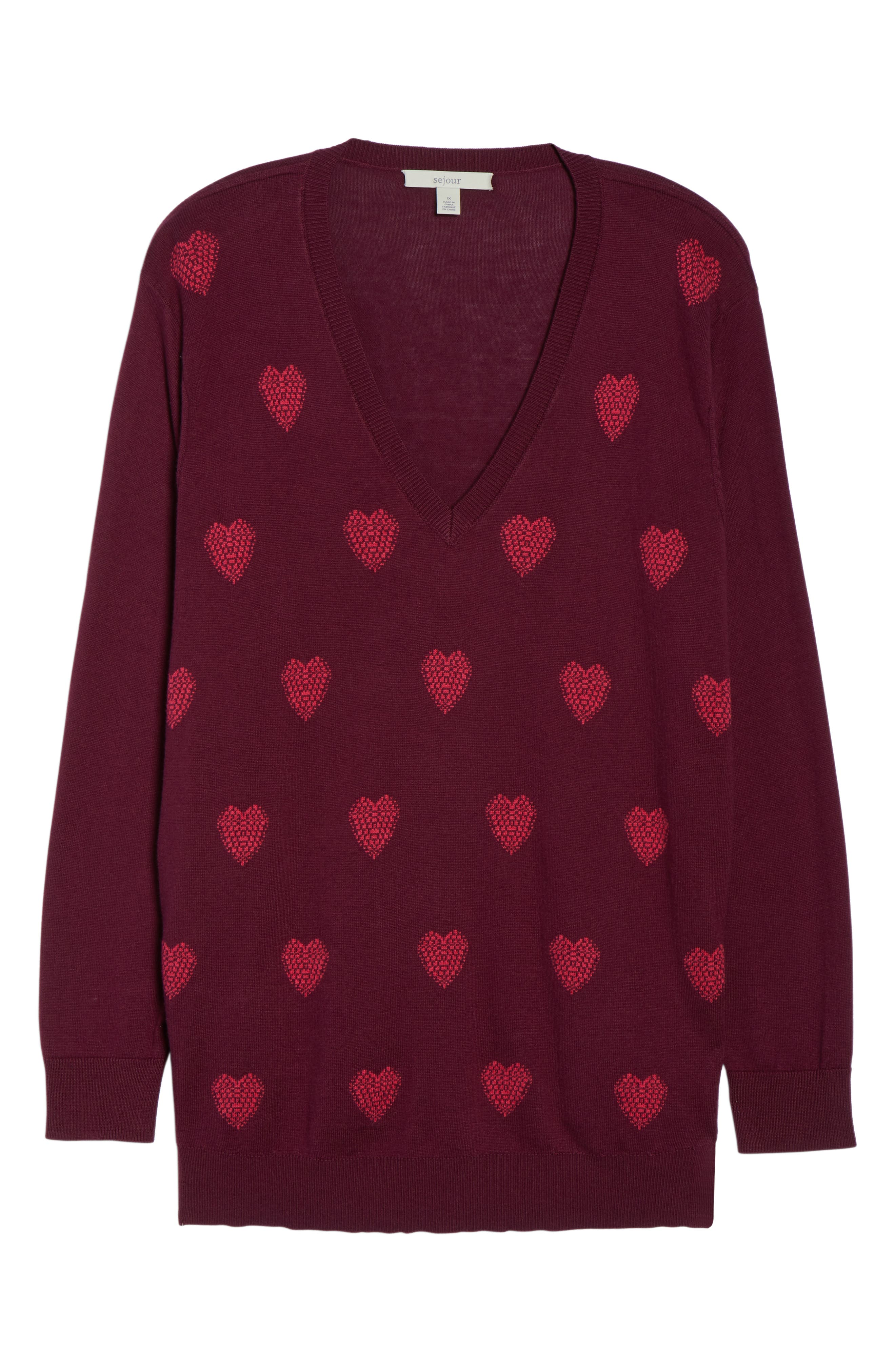 Heart Pattern Cotton Blend Sweater,                             Alternate thumbnail 6, color,                             BURGUNDY- PINK HEART KNIT