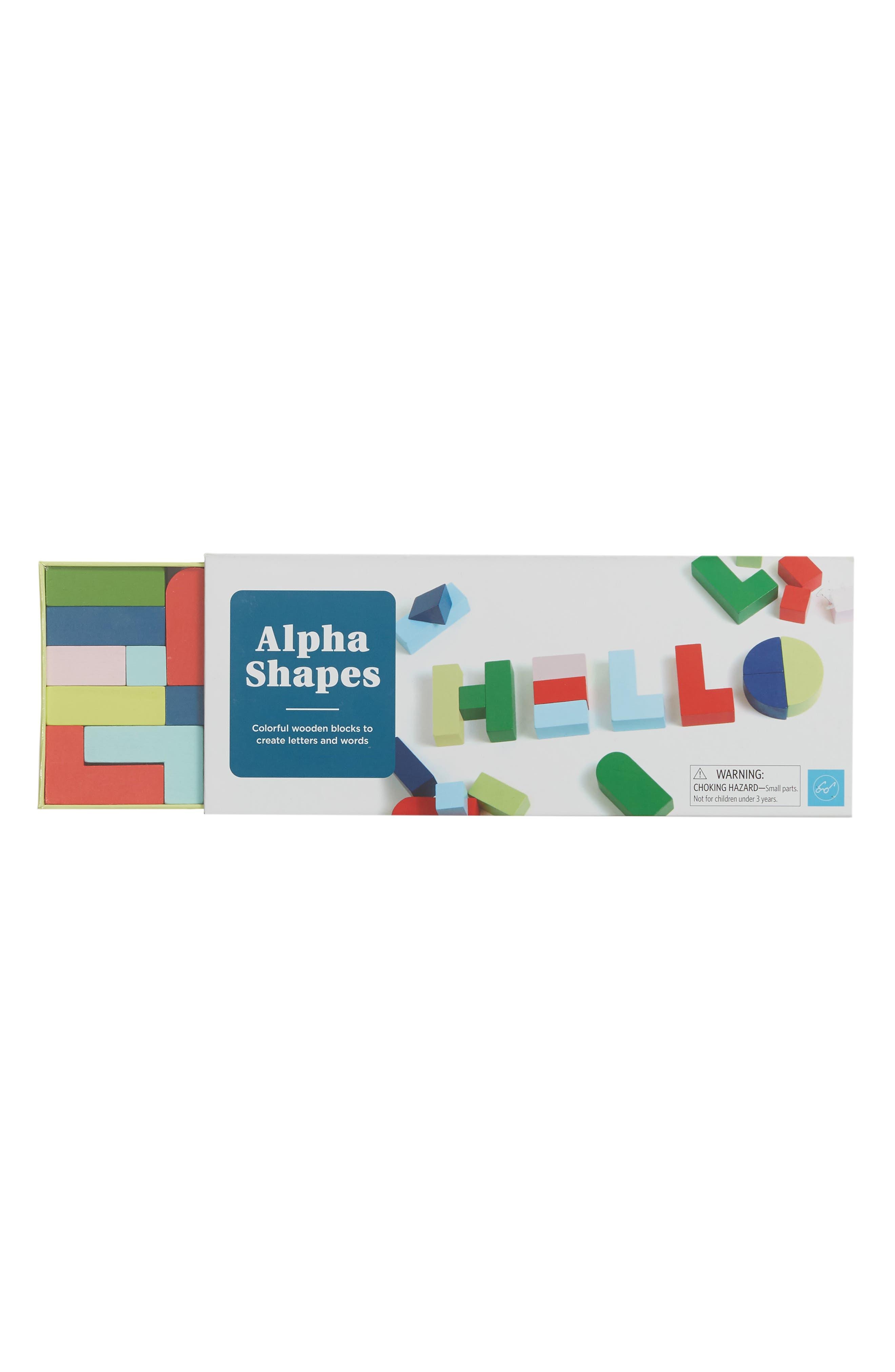 Alpha Shapes Wooden Blocks,                         Main,                         color, NONE