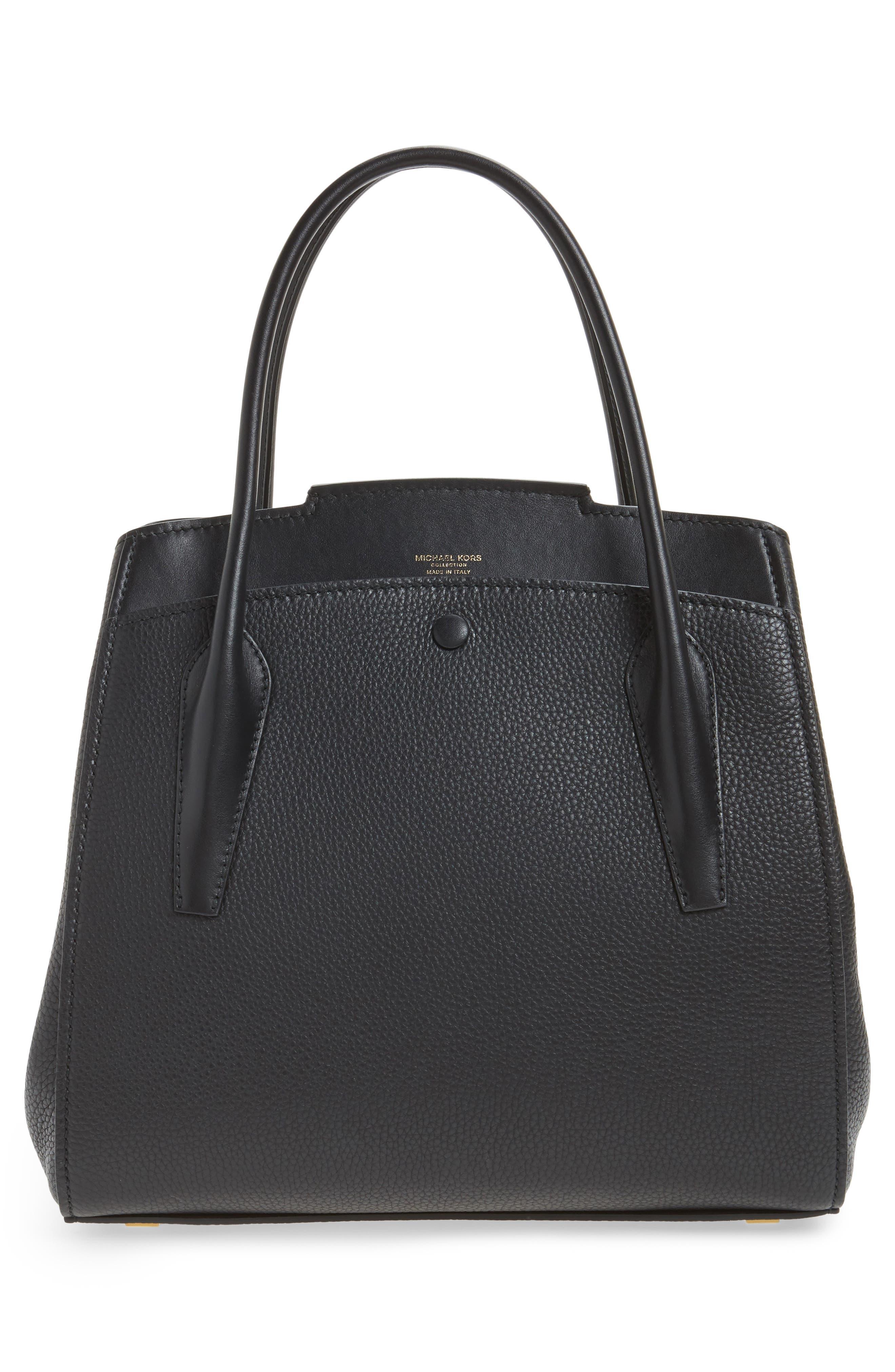 Large Bancroft Leather Top Handle Satchel,                             Alternate thumbnail 3, color,                             001