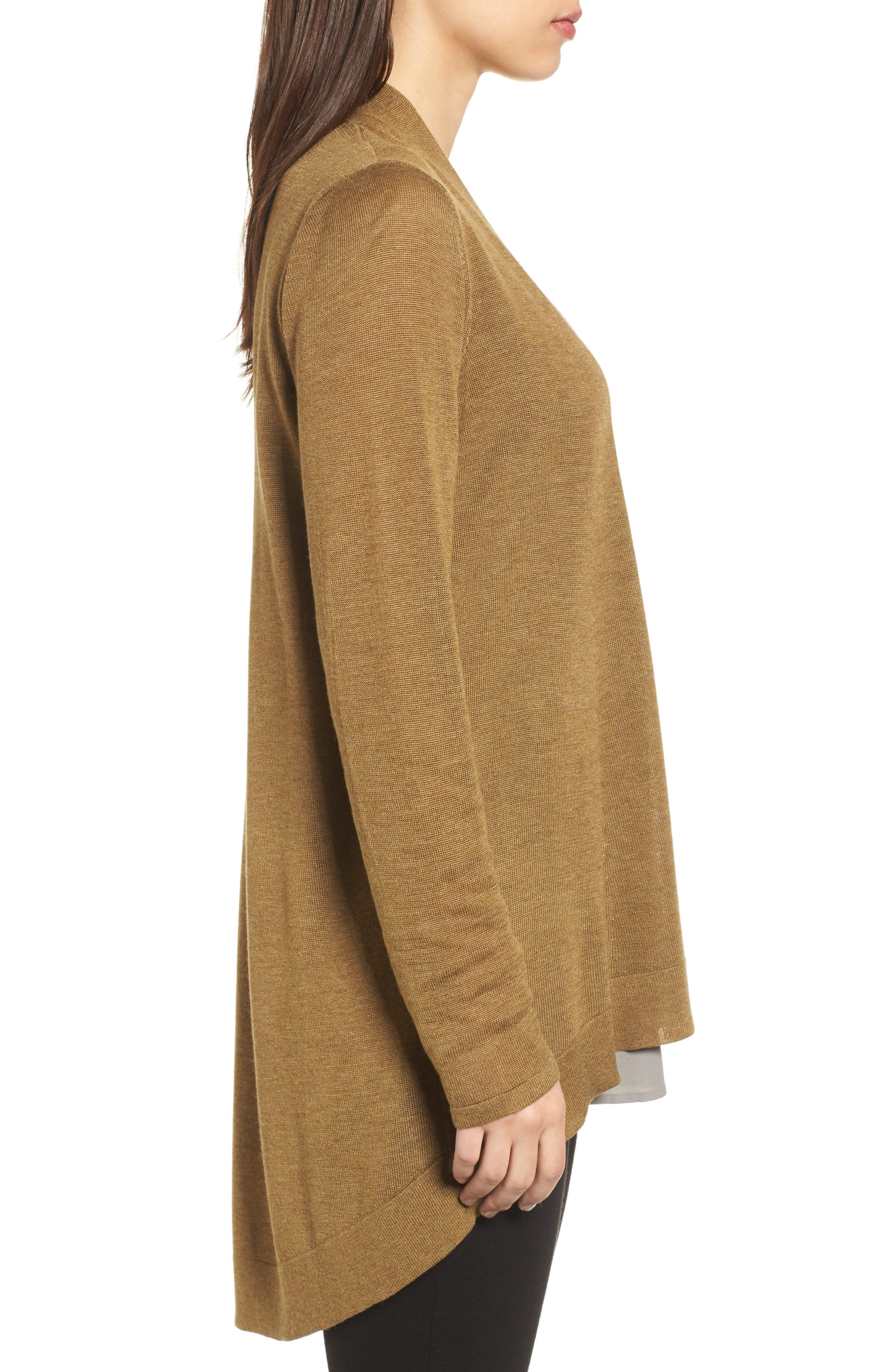 Tencel<sup>®</sup> Lyocell & Merino Wool Shaped Cardigan,                             Alternate thumbnail 15, color,