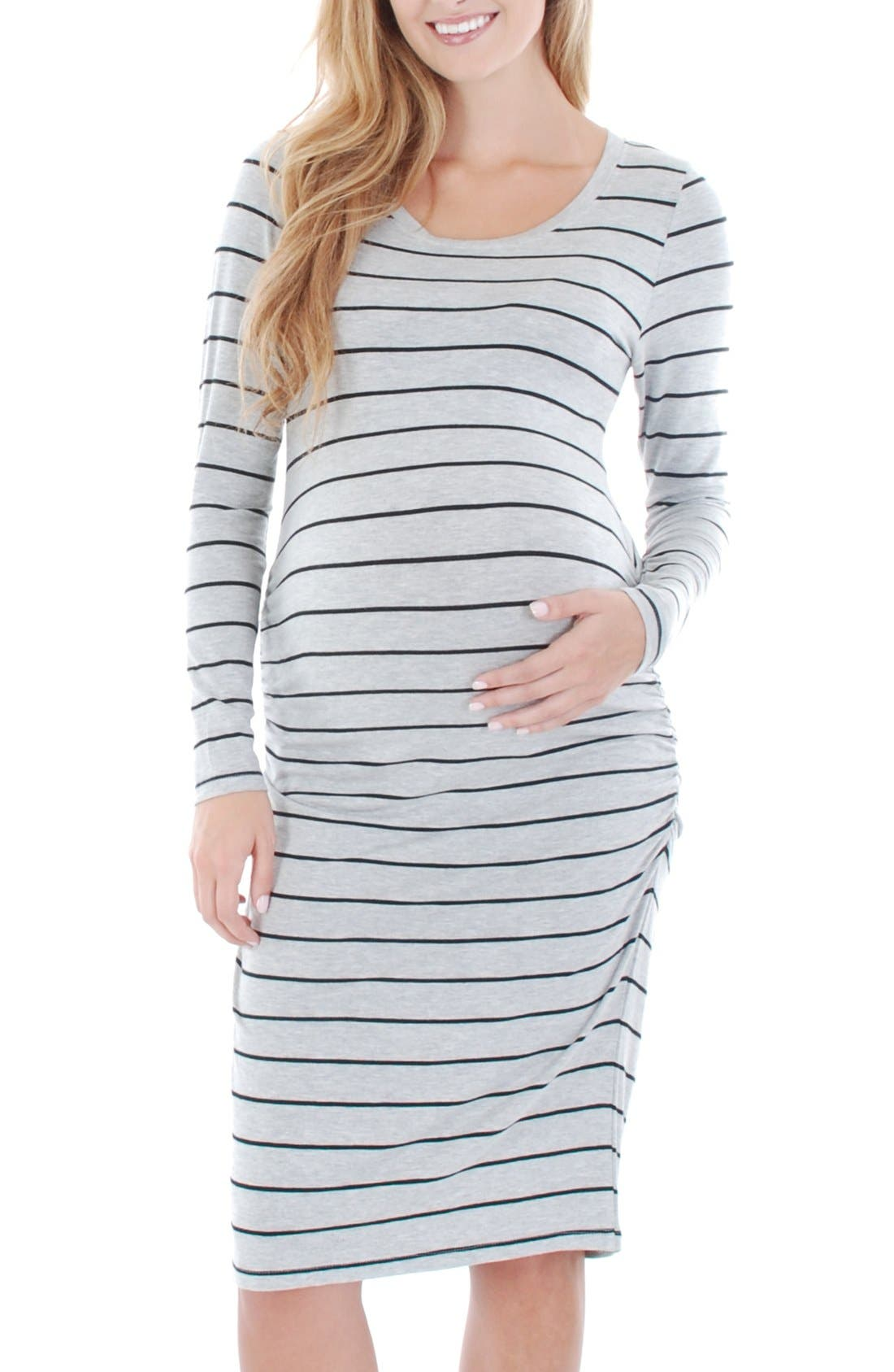 EverlyGrey 'Hanh' Maternity T-Shirt Dress,                             Main thumbnail 1, color,                             GREY STRIPE