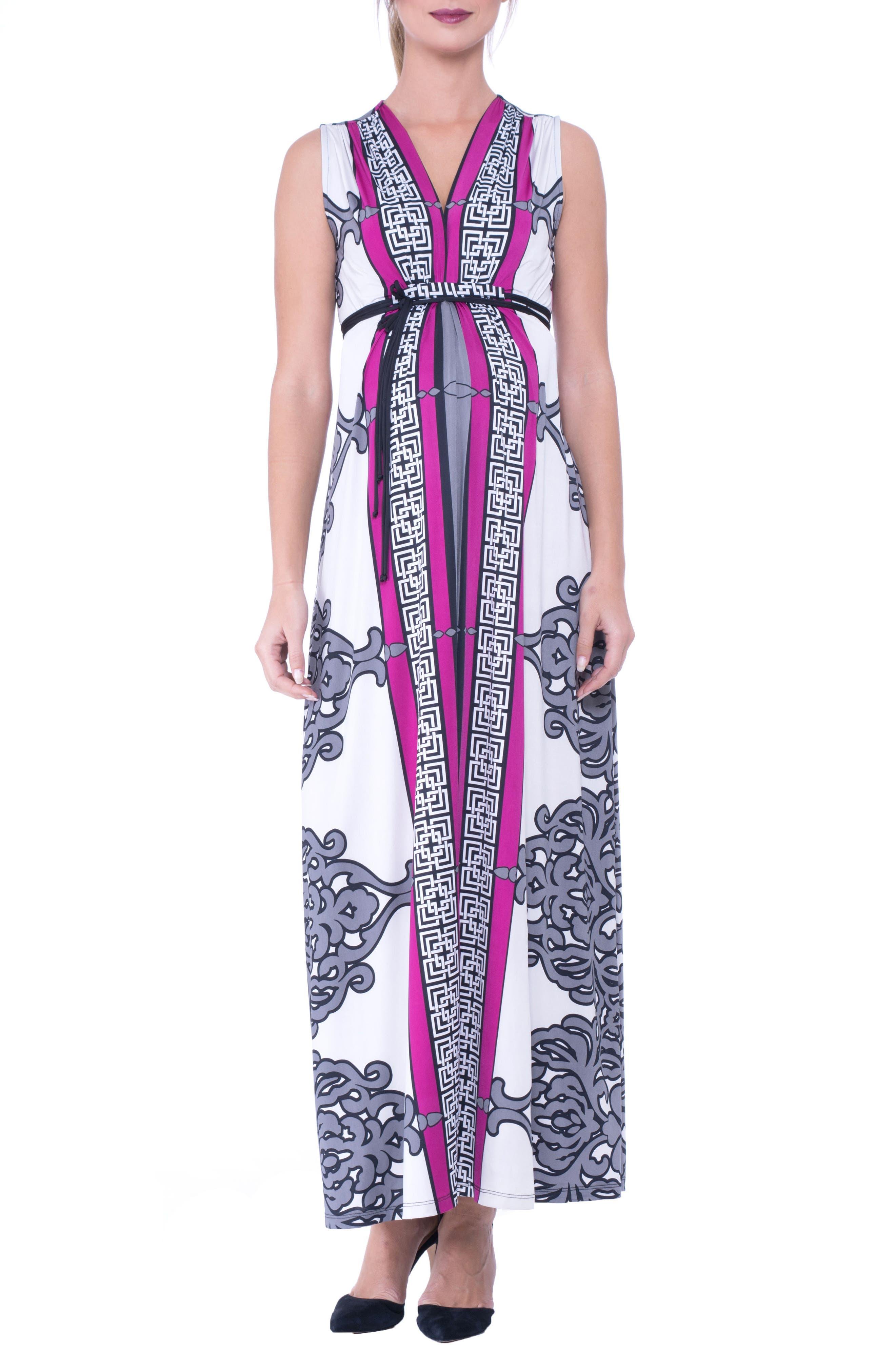 Print Maxi Maternity Dress,                             Main thumbnail 1, color,                             025
