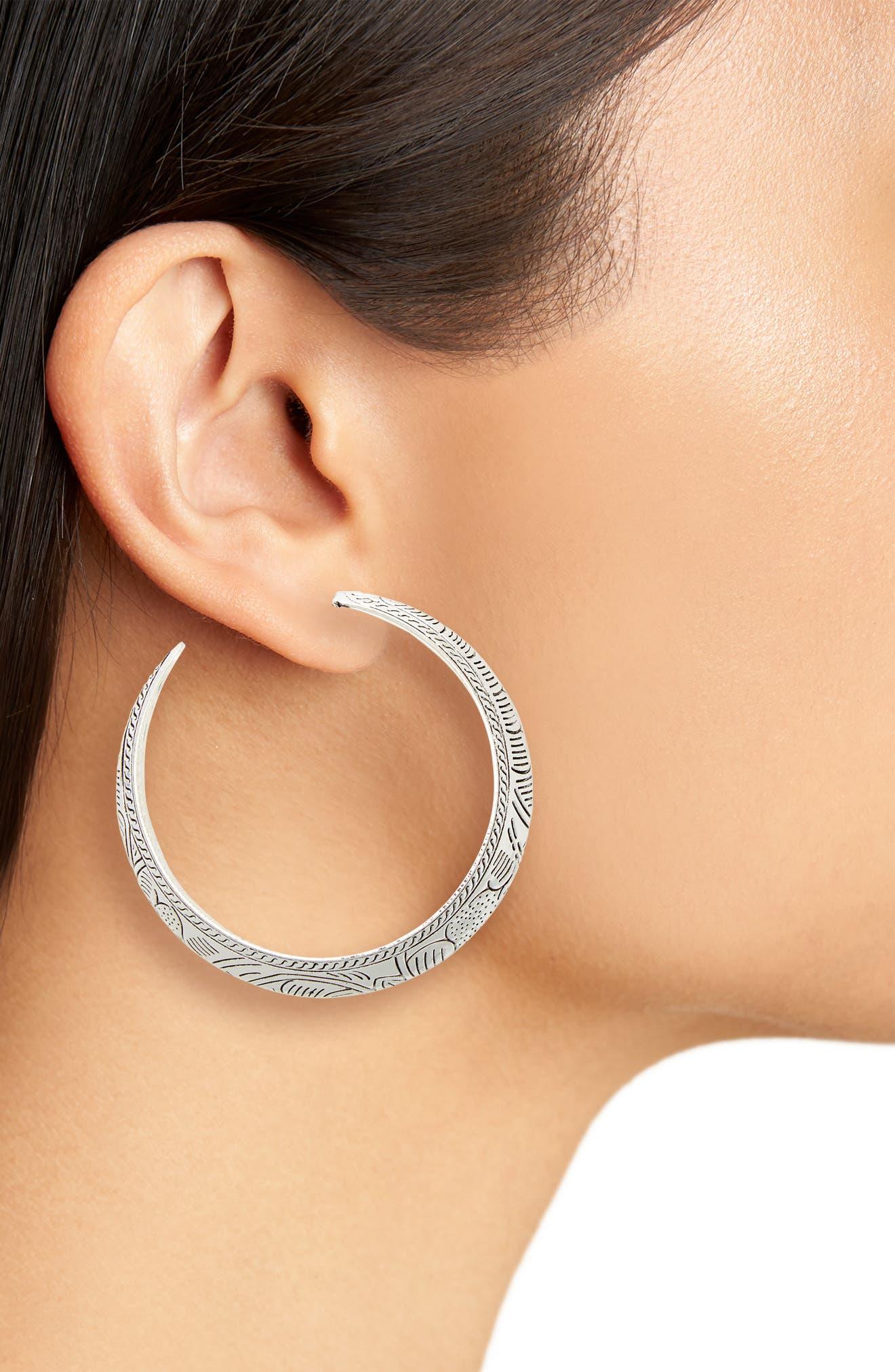 Etched Western Hoop Earrings,                             Alternate thumbnail 2, color,                             040