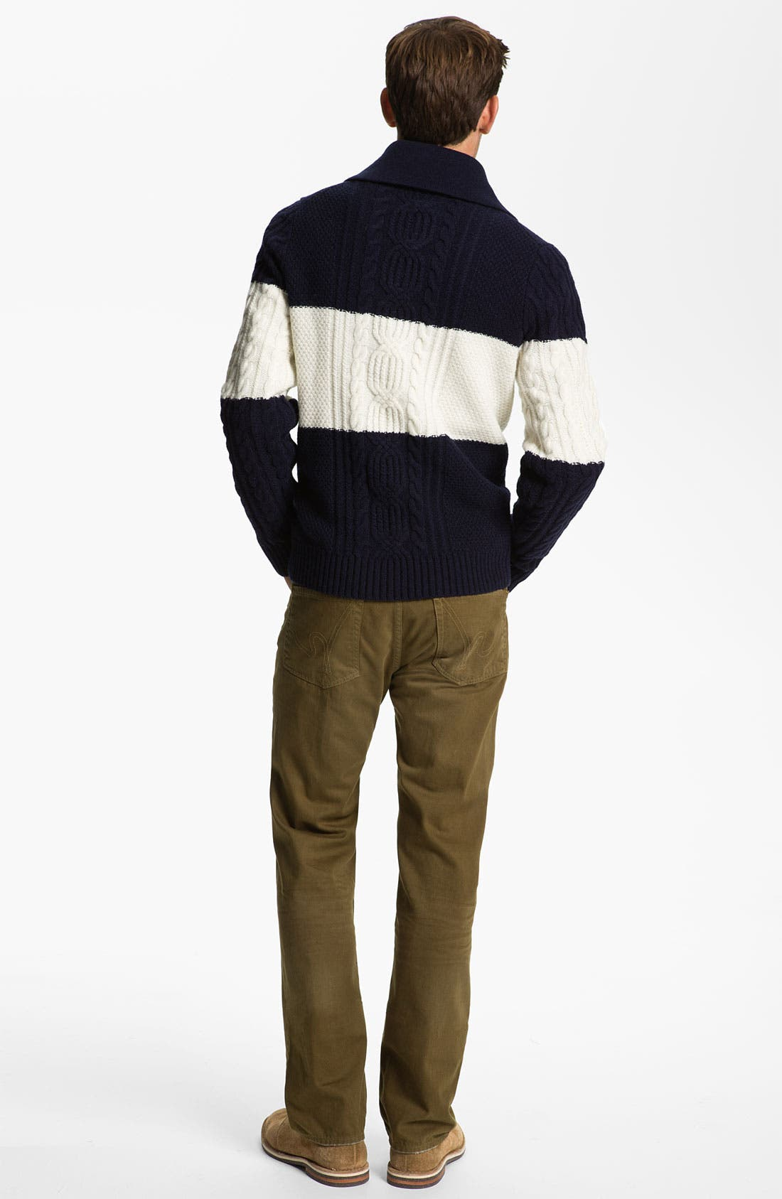 Shawl Collar Wool Sweater,                             Alternate thumbnail 3, color,                             410