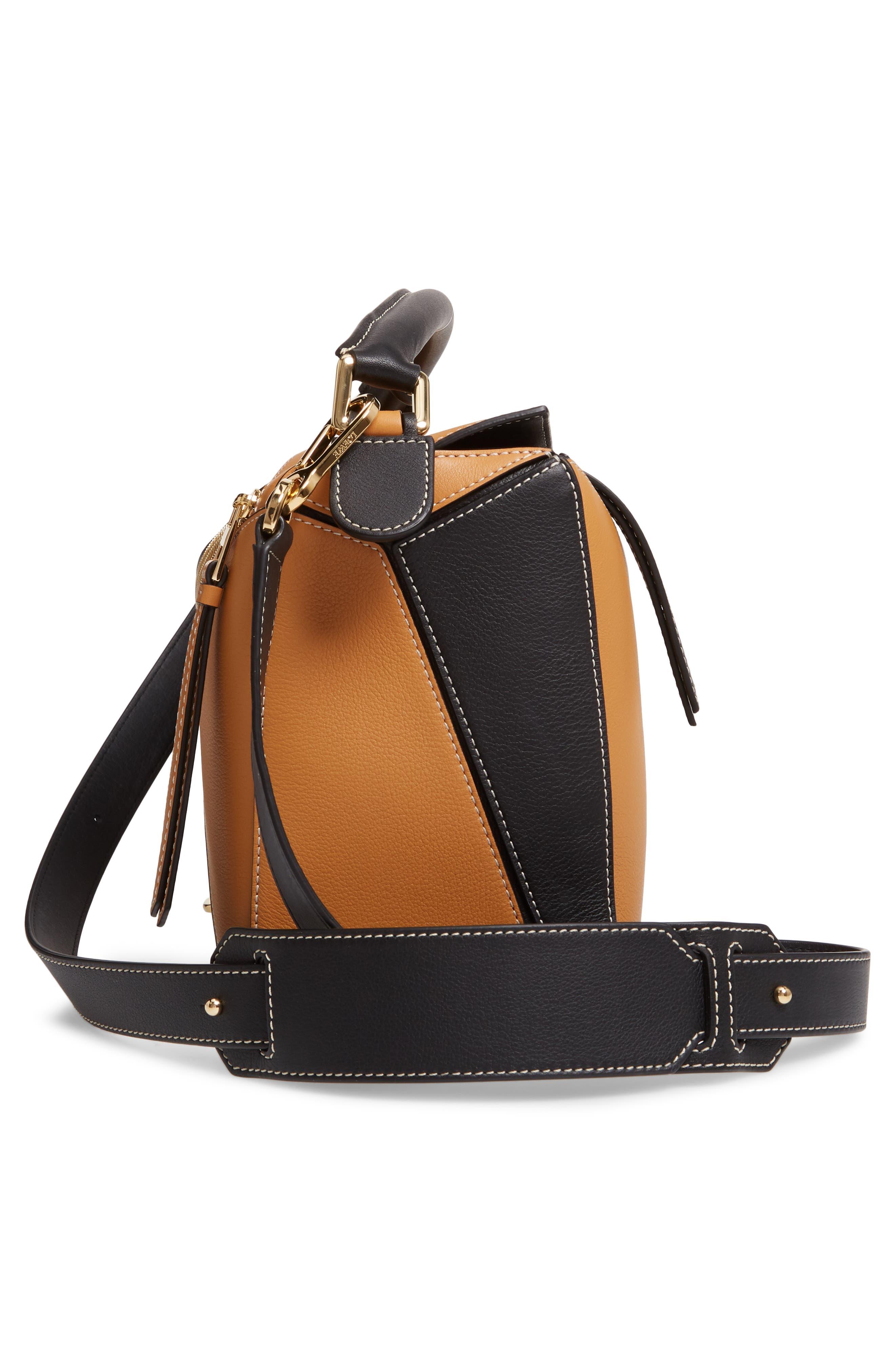 LOEWE,                             Puzzle Calfskin Leather Shoulder Bag,                             Alternate thumbnail 6, color,                             AMBER/ LIGHT OAT