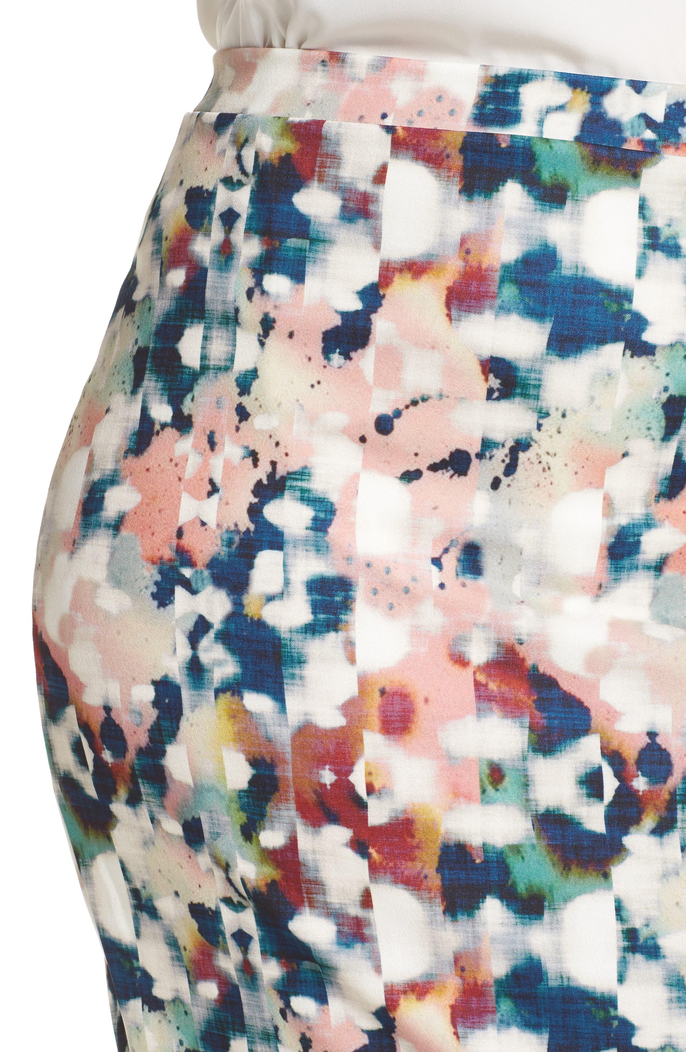 Abstract Print Pencil Skirt,                             Alternate thumbnail 4, color,                             650