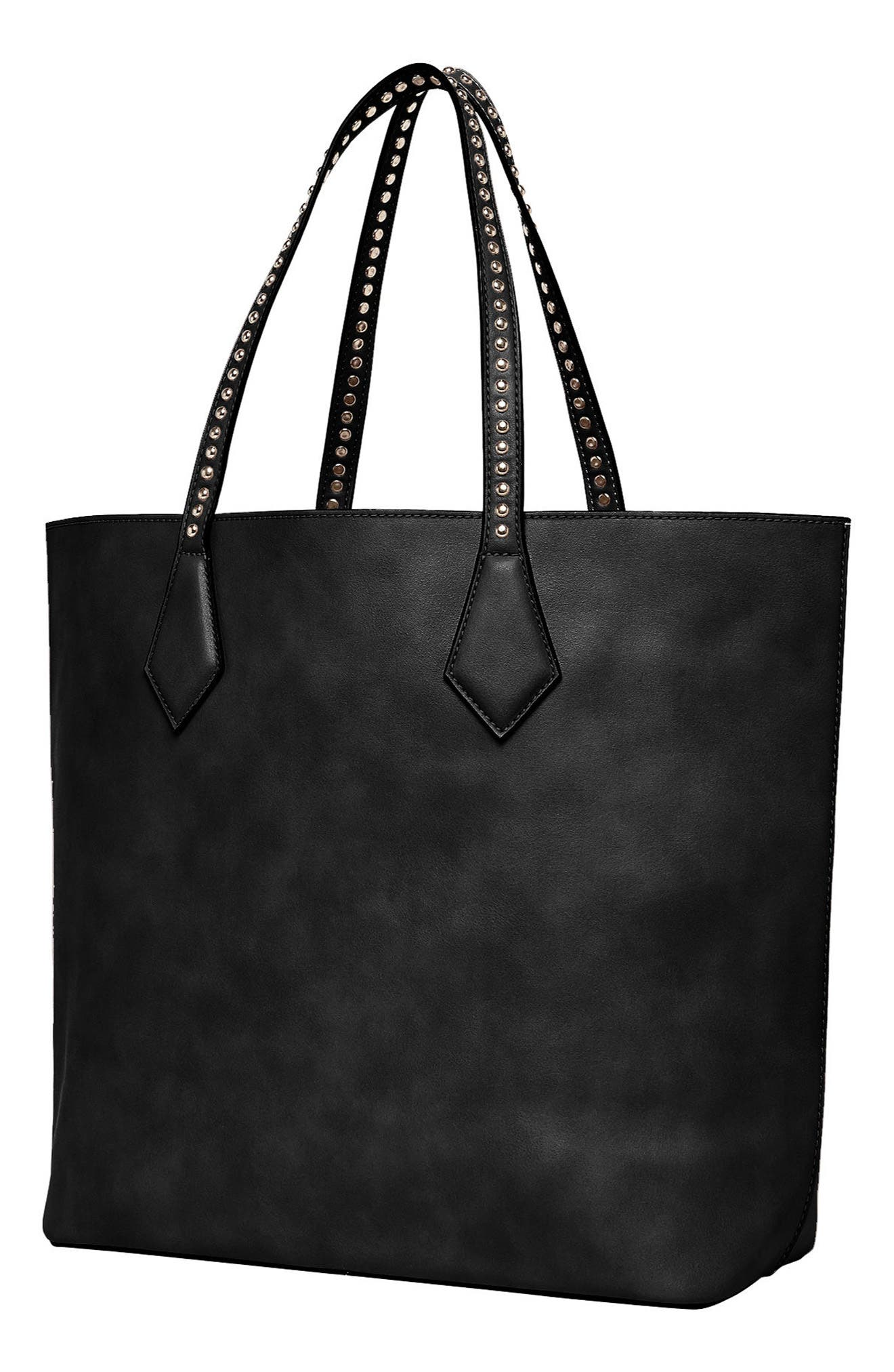 Midnight Hour Vegan Leather Tote,                             Alternate thumbnail 3, color,                             001