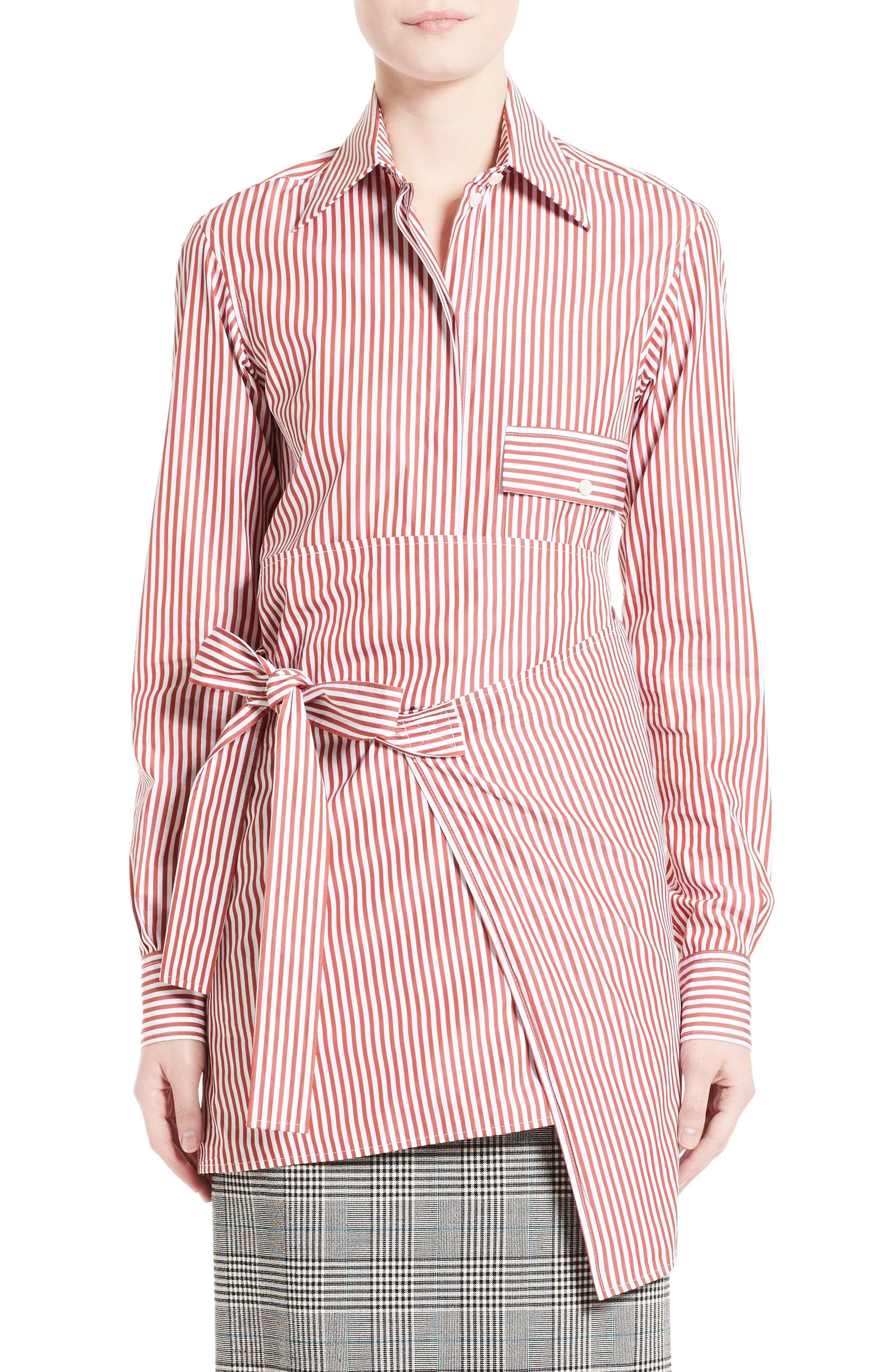 Stripe Wrap Tie Shirt,                             Main thumbnail 1, color,