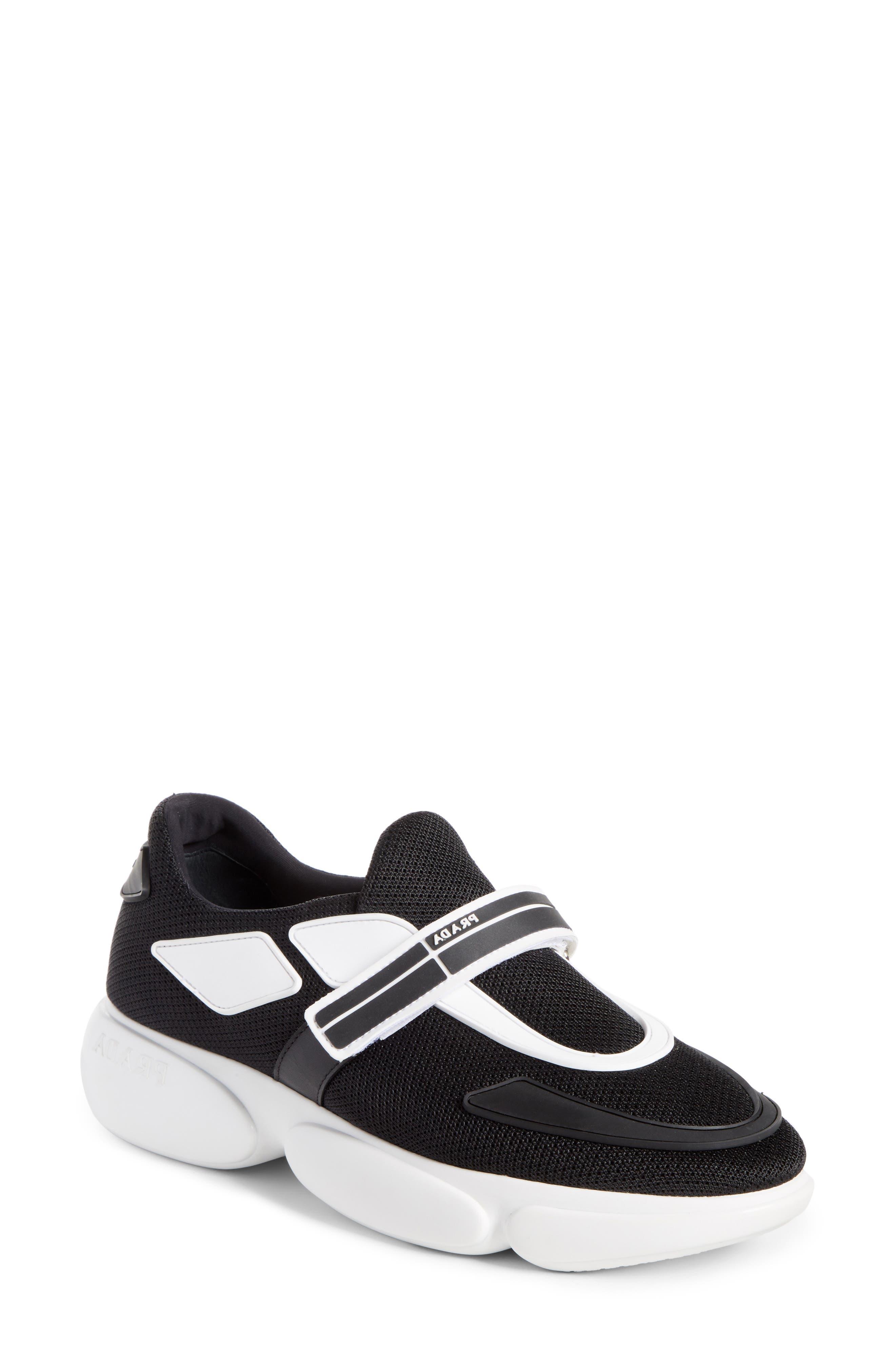 Cloudbust Logo Hook & Loop Sneaker,                             Main thumbnail 1, color,                             BLACK/ WHITE
