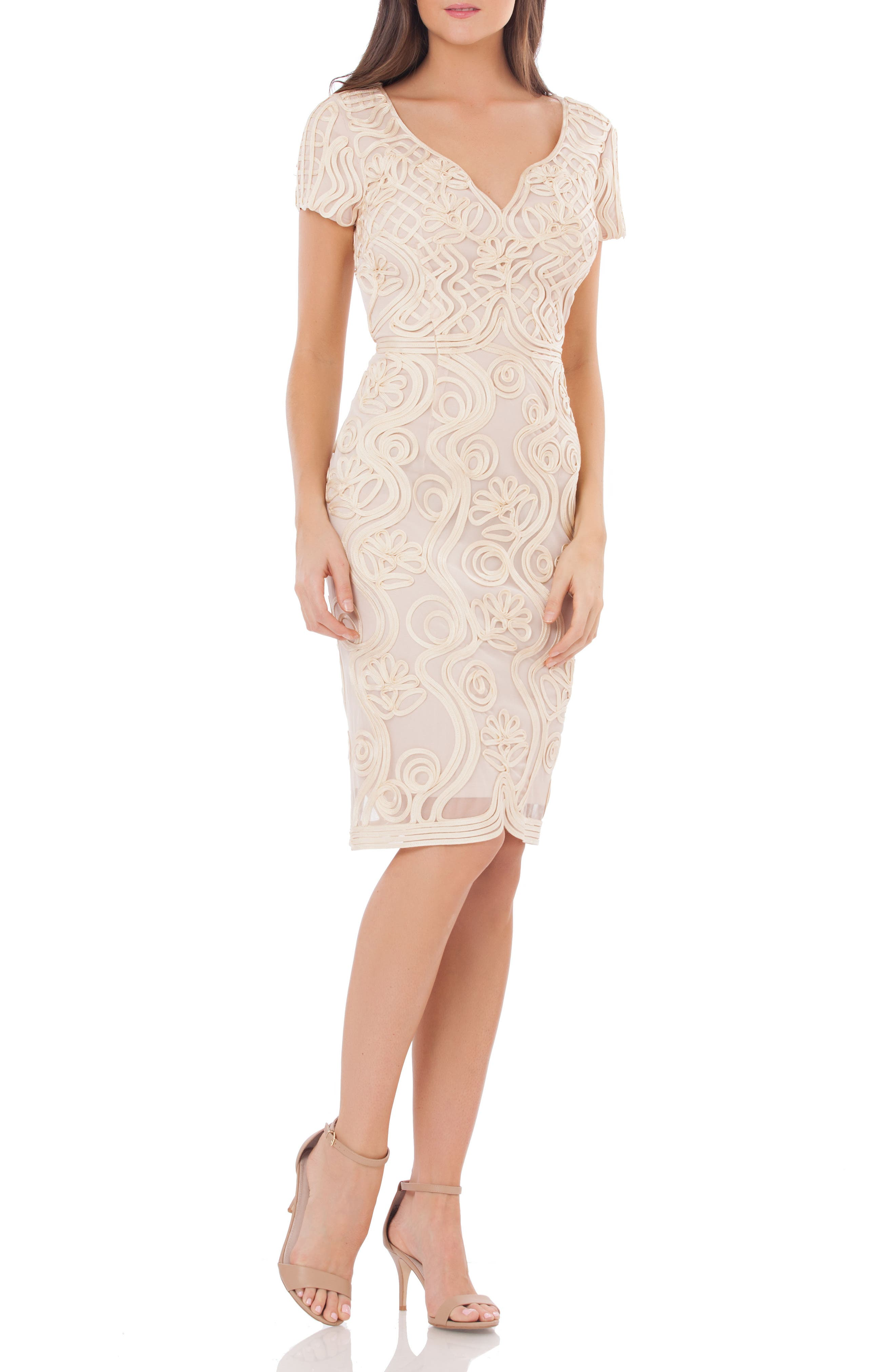Js Collections Soutache Mesh Sheath Dress, Pink