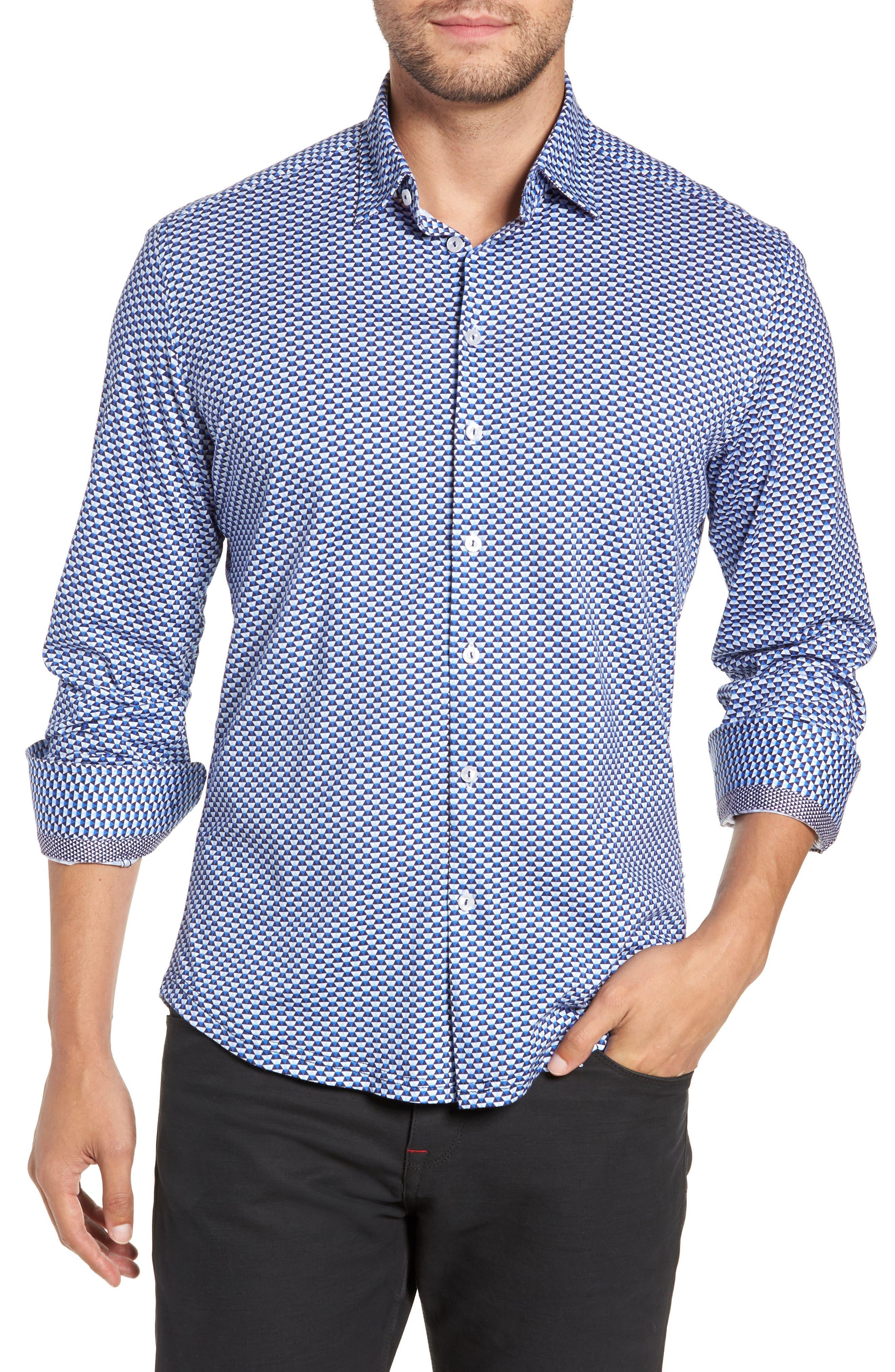 Trim Fit Knit Sport Shirt,                         Main,                         color, WHITE