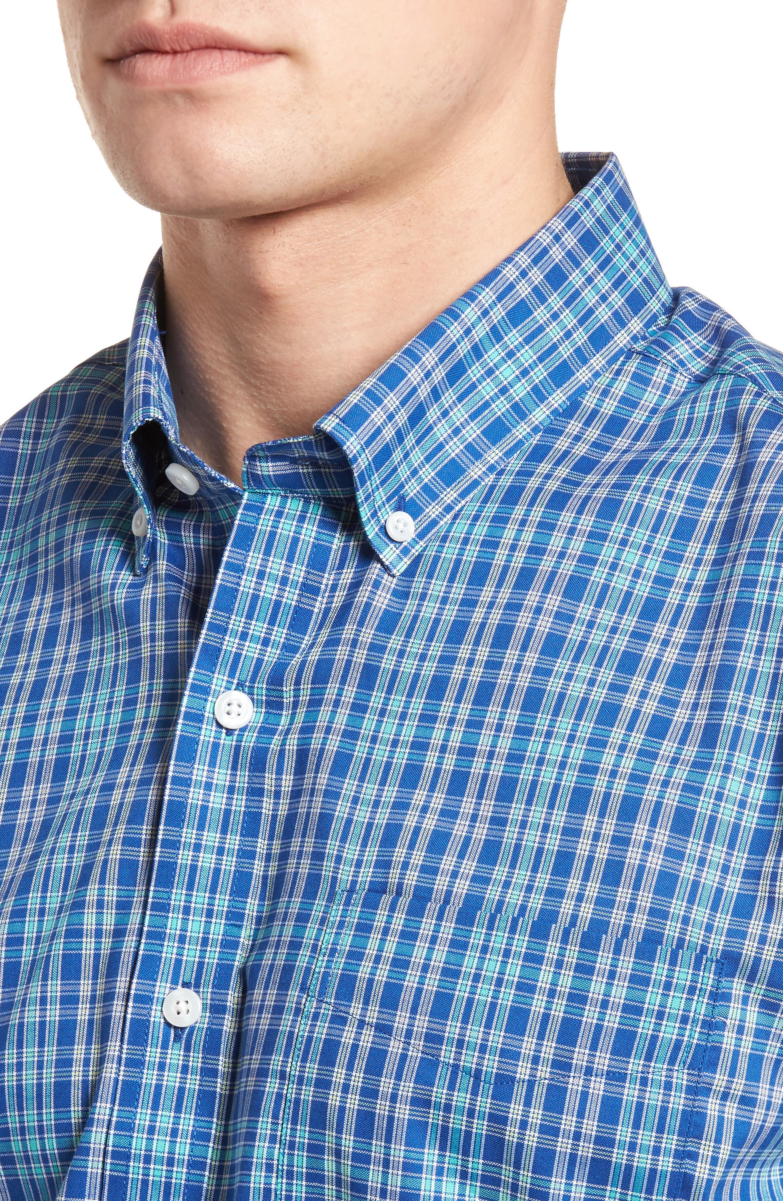 Charlie Easy Care Plaid Sport Shirt,                             Alternate thumbnail 4, color,                             419