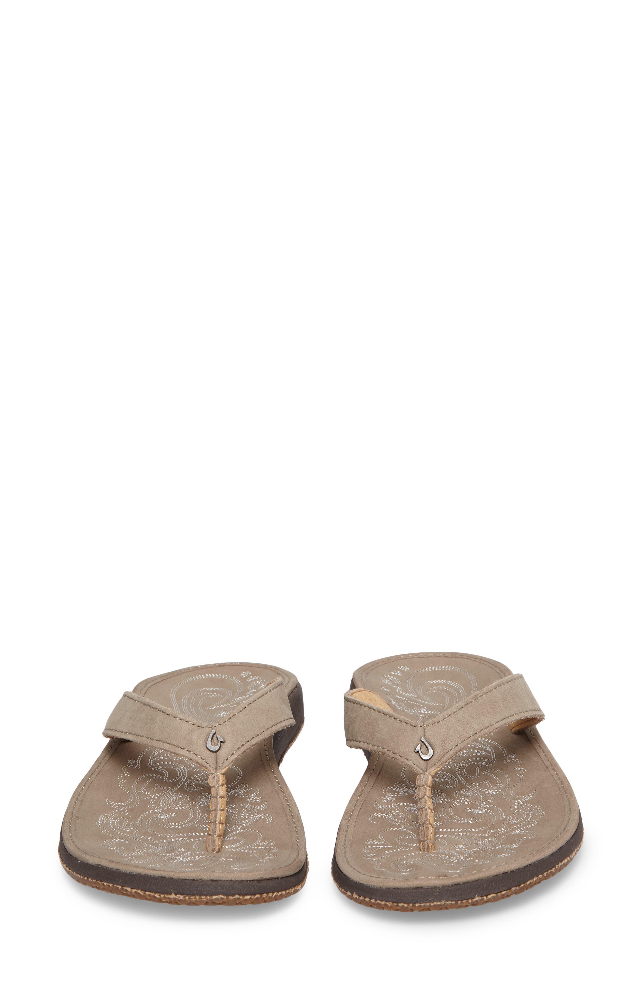 OLUKAI,                             'Paniolo' Thong Sandal,                             Alternate thumbnail 4, color,                             TAUPE/ TAUPE LEATHER