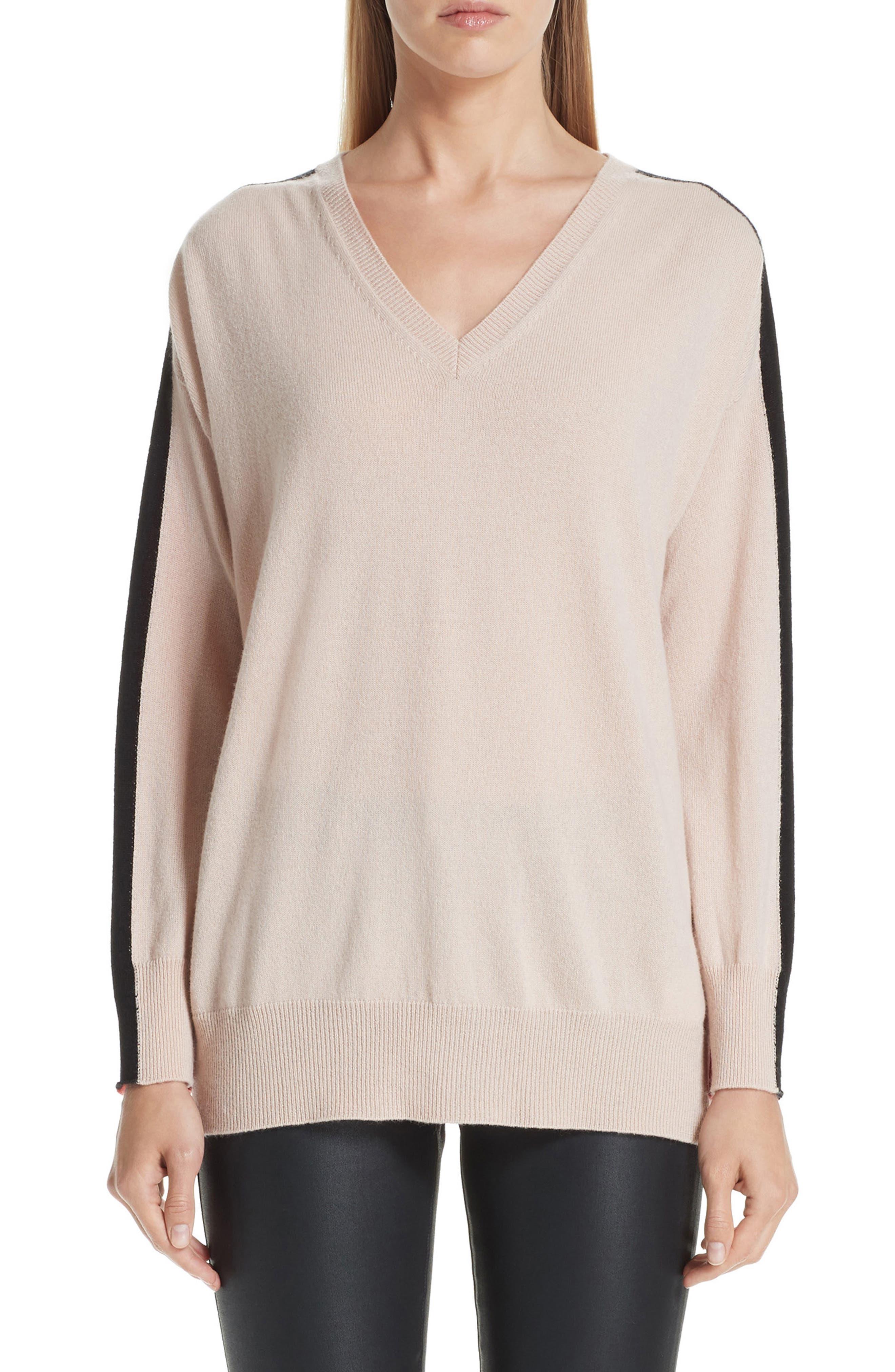 Stripe V-Neck Cashmere Sweater, Main, color, ROSA NATURALE